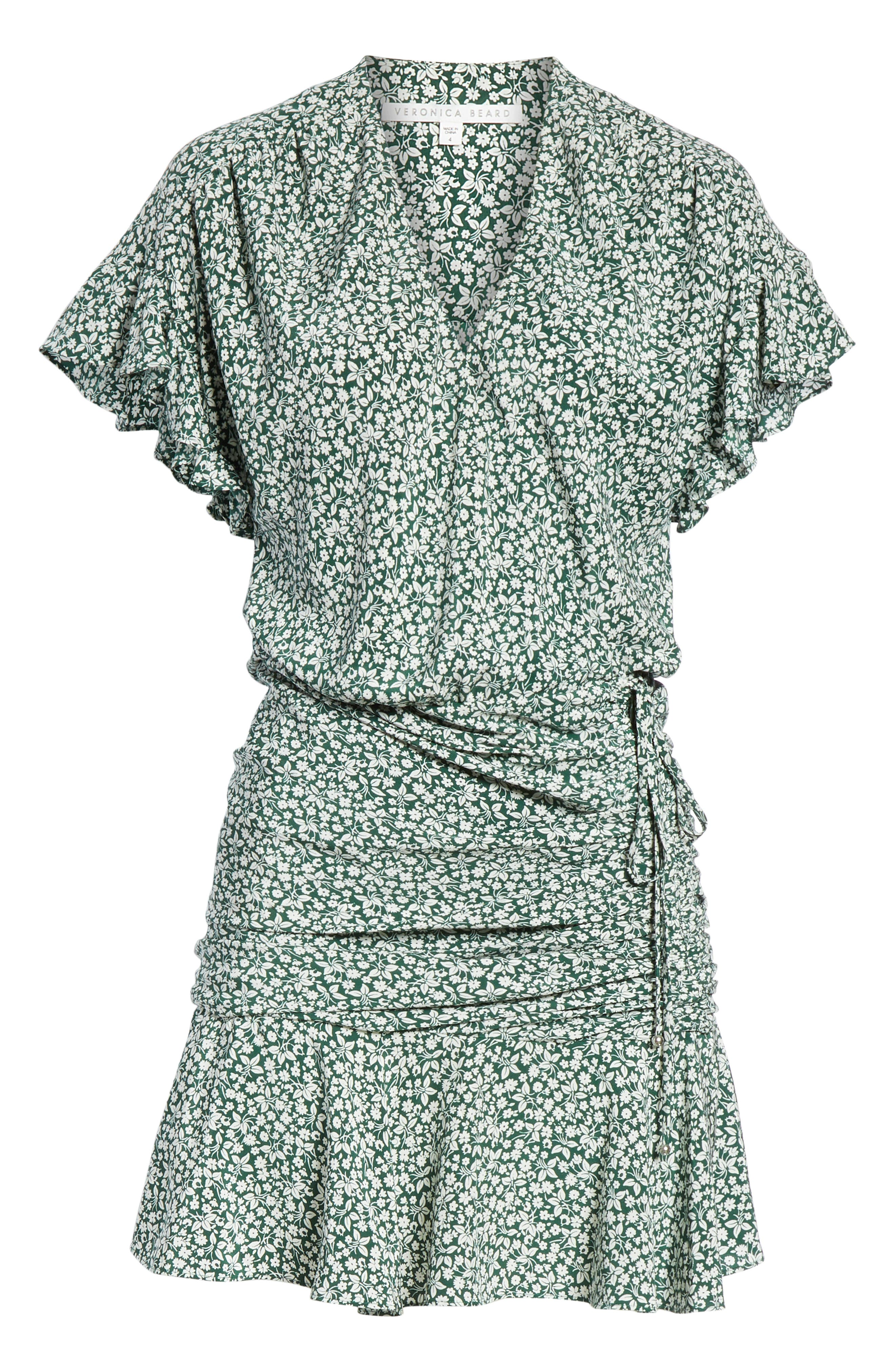 VERONICA BEARD, Marla Tie Ruched Silk Minidress, Alternate thumbnail 7, color, FOREST GREEN