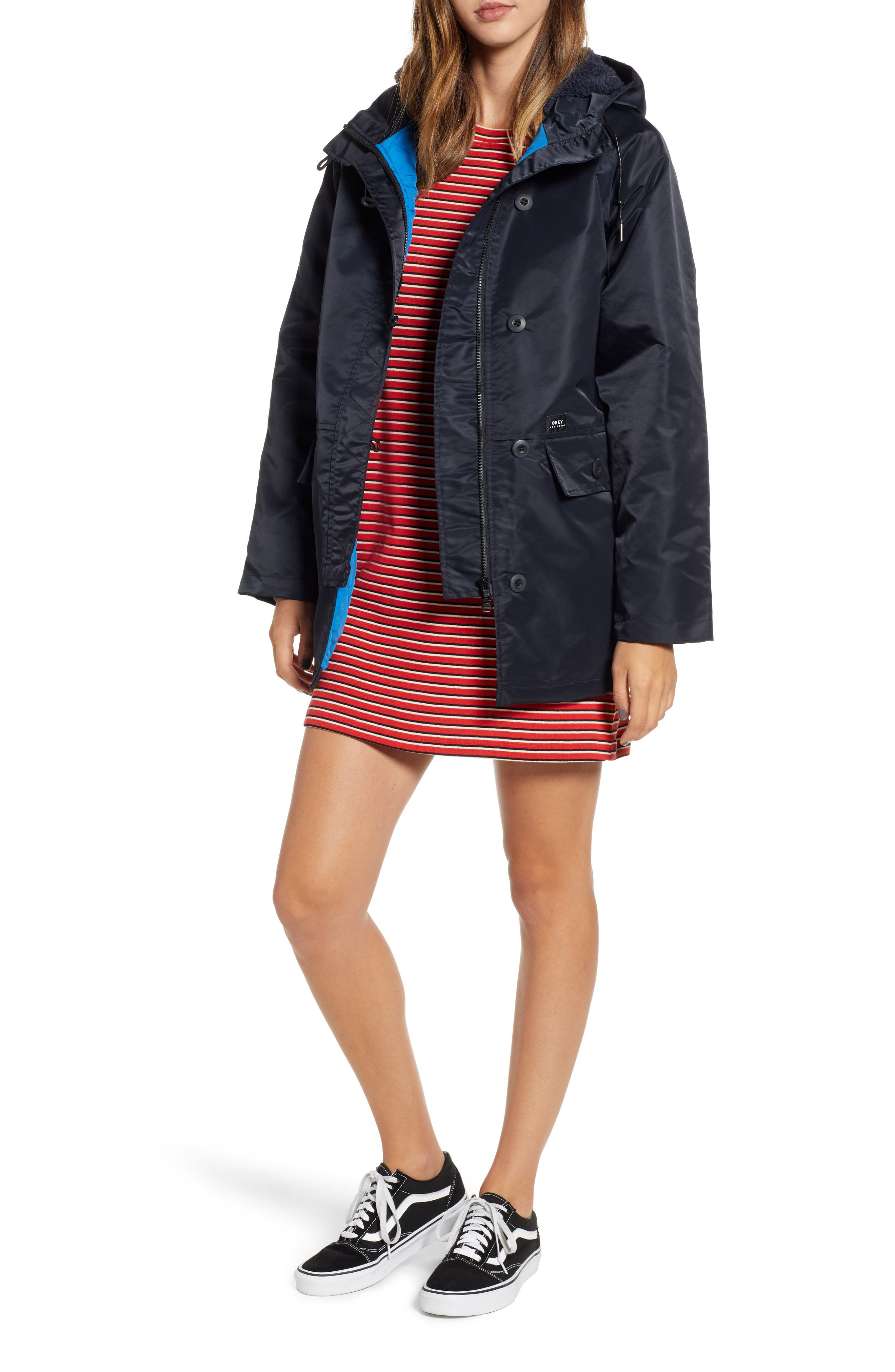 OBEY Foxtrot Water Resistant Parka, Main, color, 001