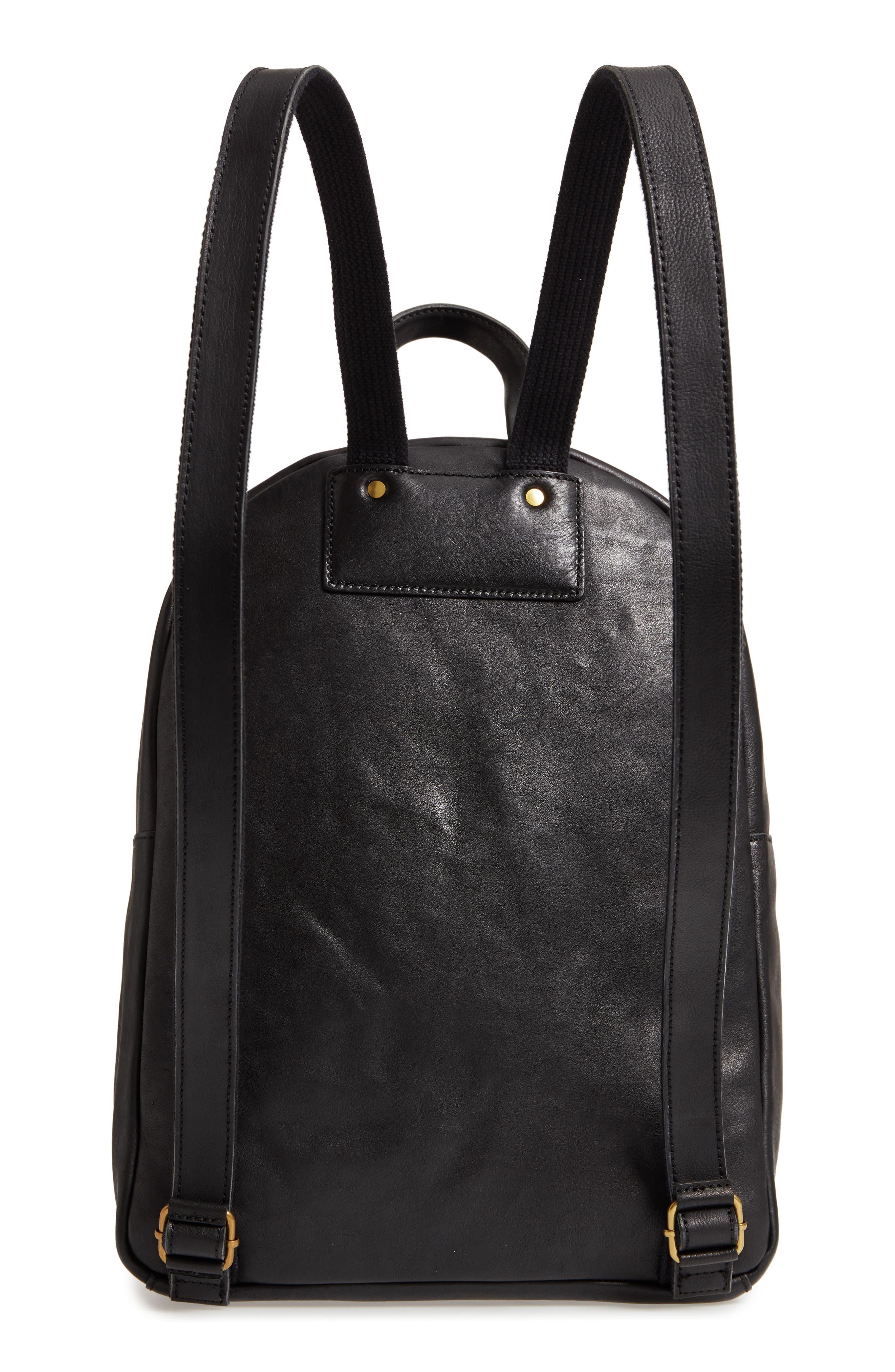 MADEWELL, Lorimer Leather Backpack, Alternate thumbnail 4, color, TRUE BLACK