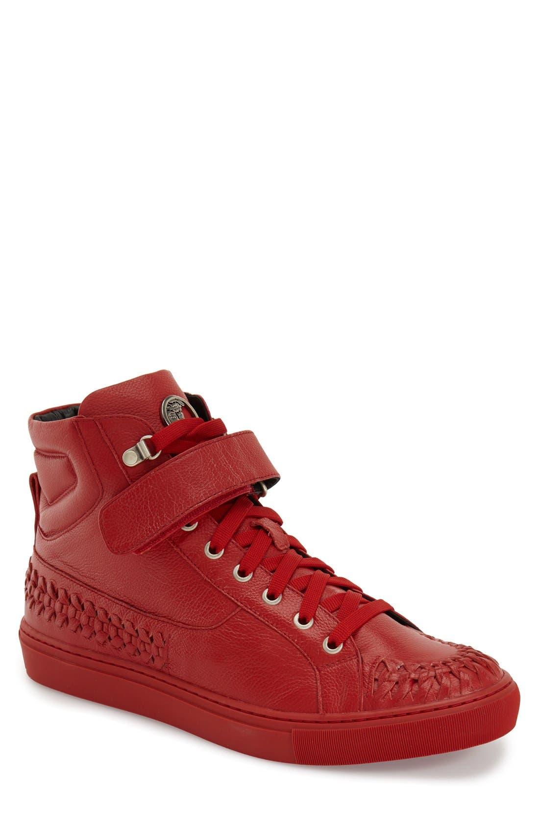 VERSACE COLLECTION, Woven High Top Sneaker, Main thumbnail 1, color, 600
