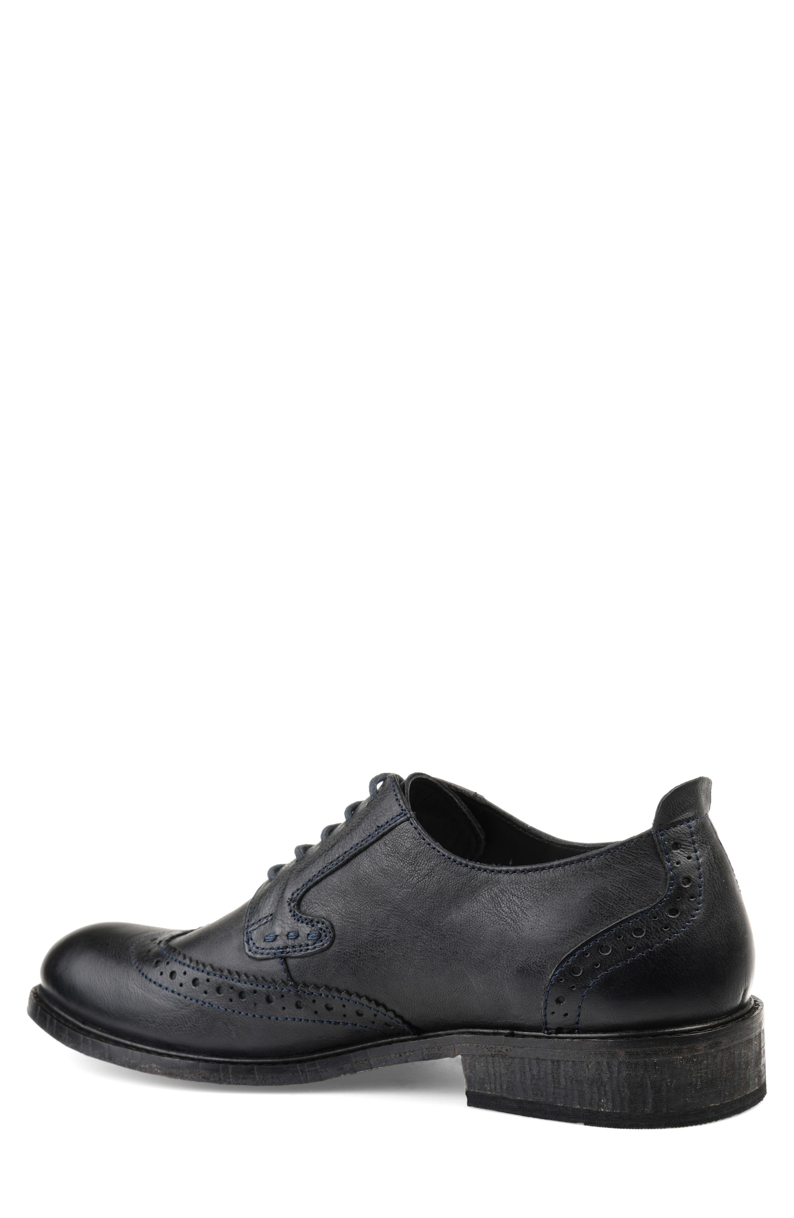 THOMAS AND VINE, Uriah Wingtip Derby, Alternate thumbnail 2, color, BLACK LEATHER