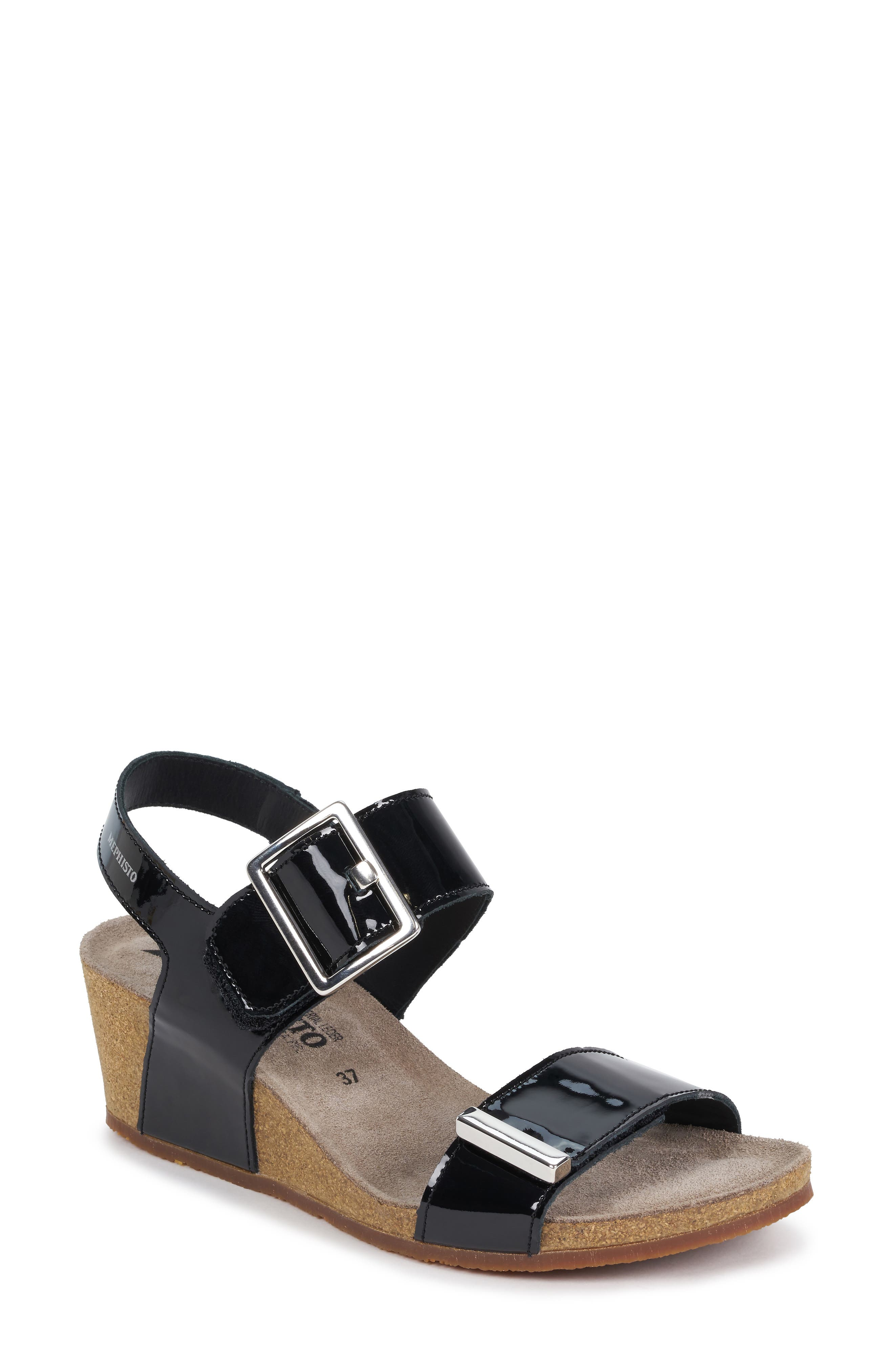 MEPHISTO Morgana Wedge Sandal, Main, color, BLACK PATENT