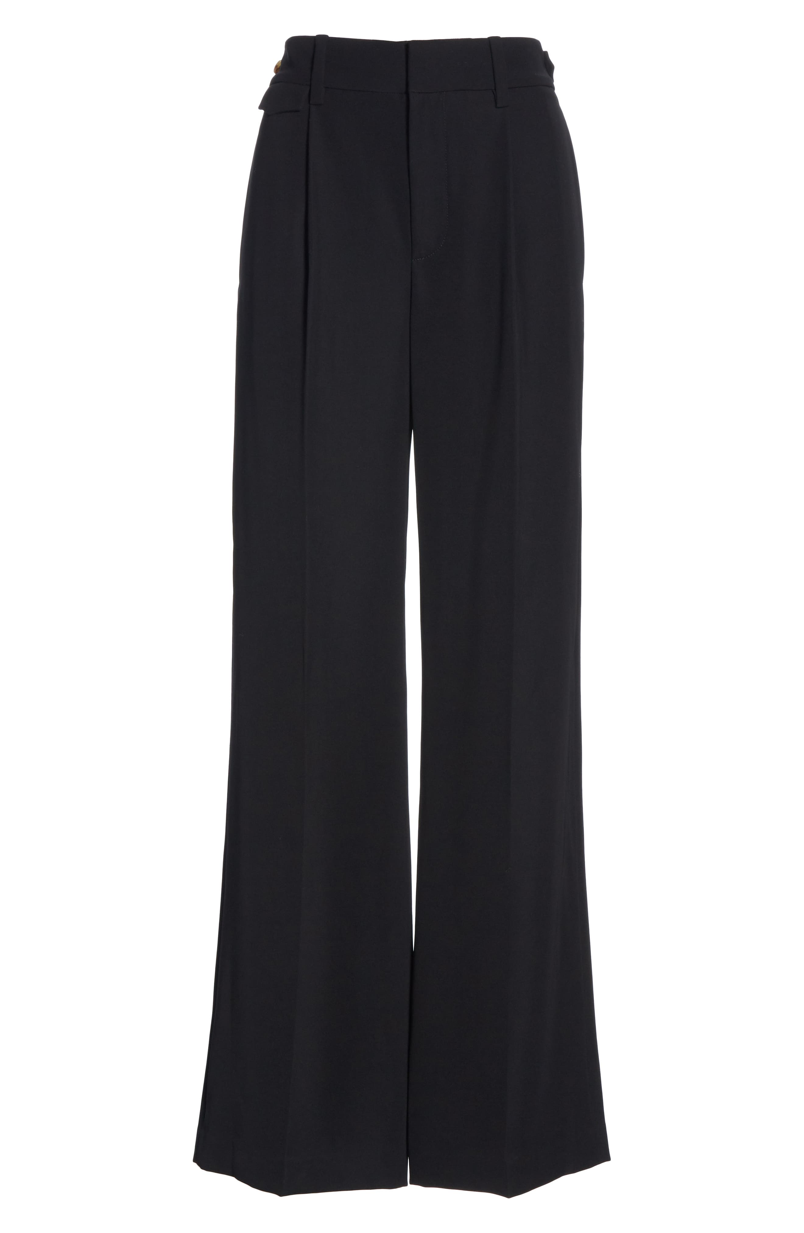 VINCE, Relaxed Wide Leg Trousers, Alternate thumbnail 7, color, BLACK