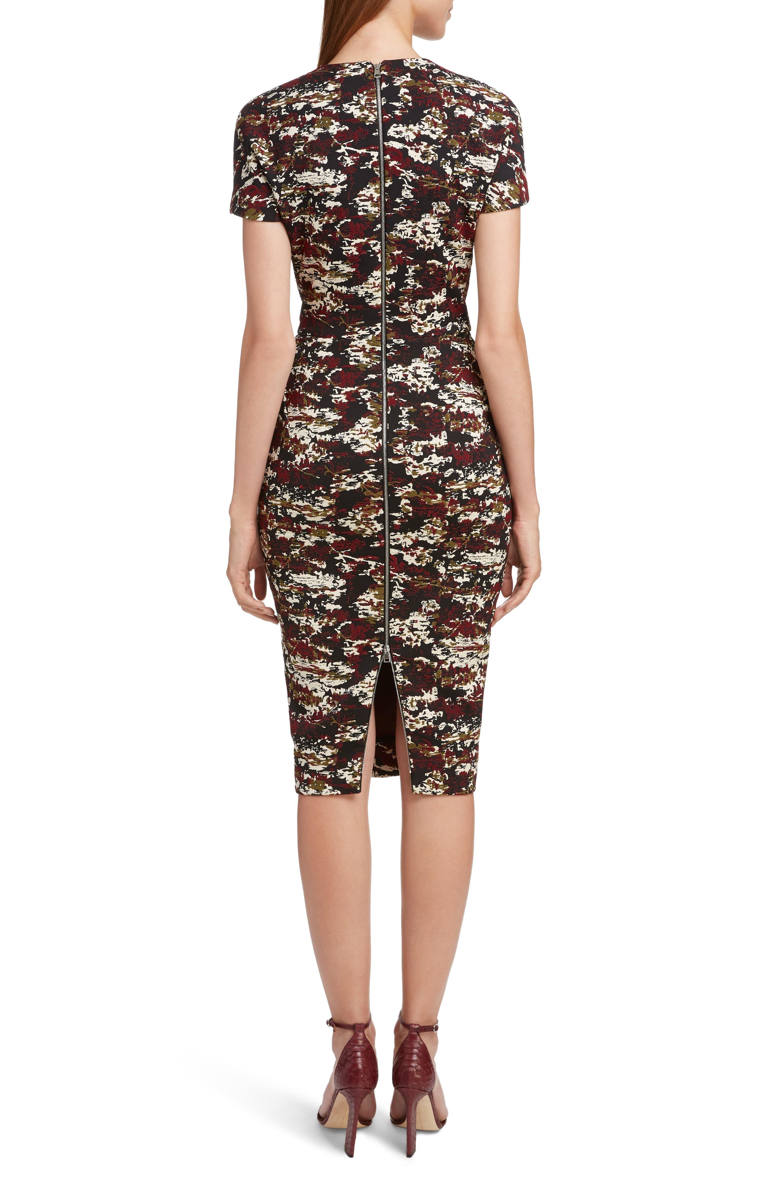 VICTORIA BECKHAM, Camouflage Jacquard Dress, Alternate thumbnail 2, color, BORDEAUX-BLACK