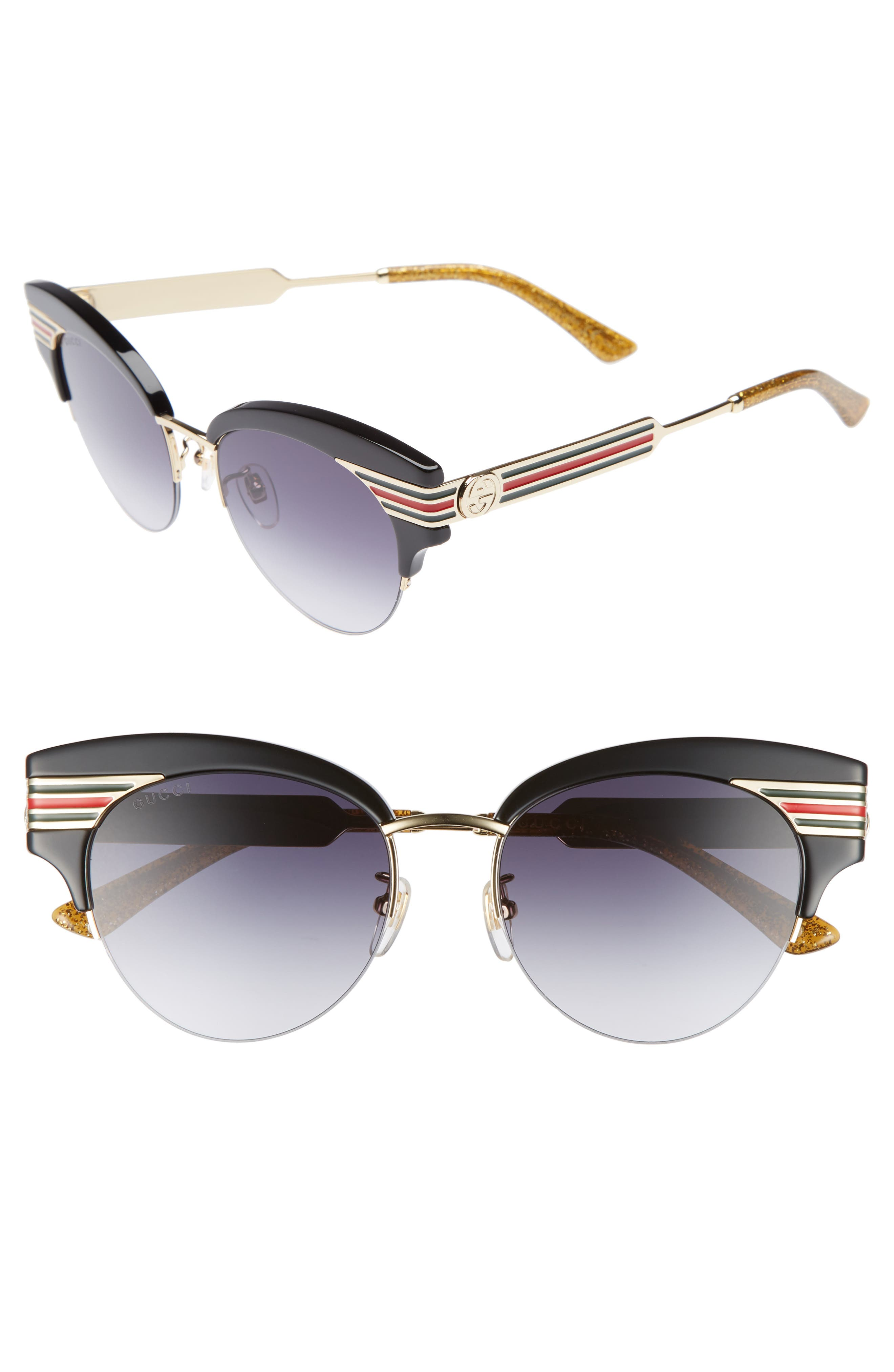 GUCCI, 53mm Cat Eye Sunglasses, Main thumbnail 1, color, GOLD