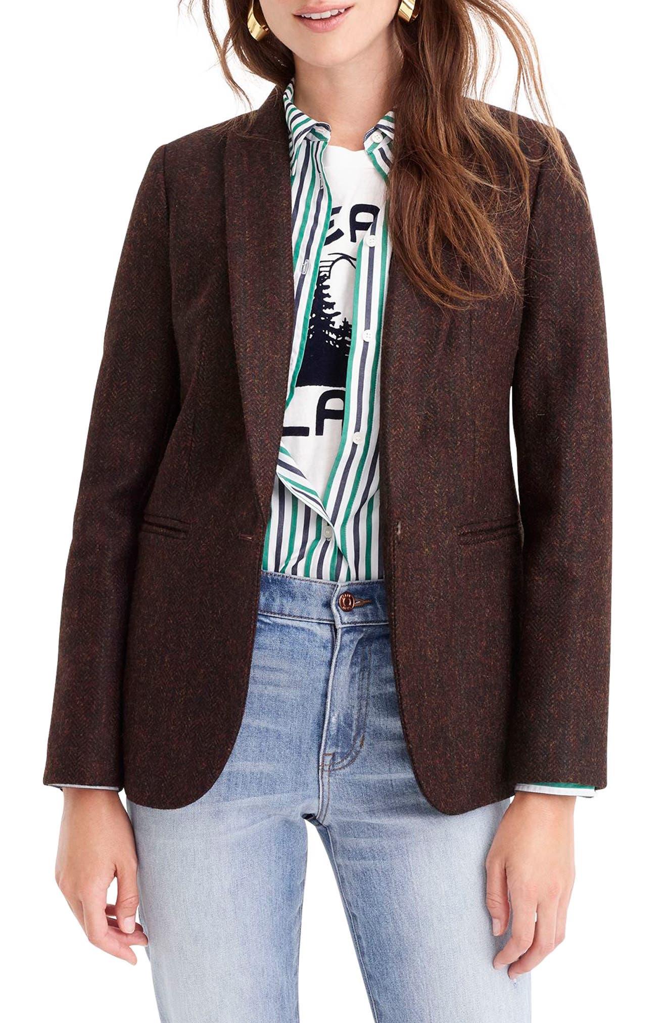 J.CREW Parke Herringbone Wool Blazer, Main, color, 009