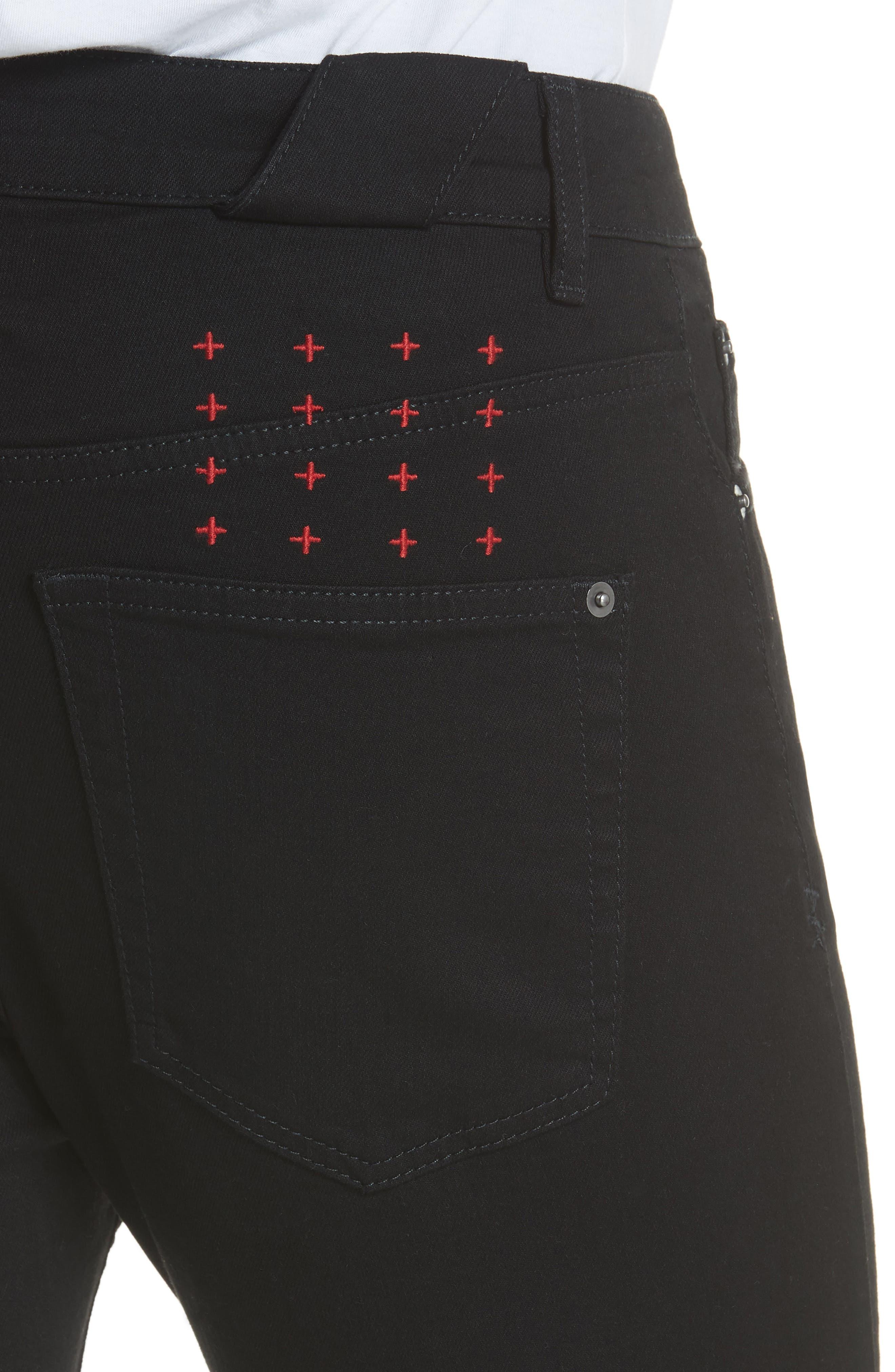KSUBI, Chitch Laid Skinny Fit Jeans, Alternate thumbnail 5, color, BLACK