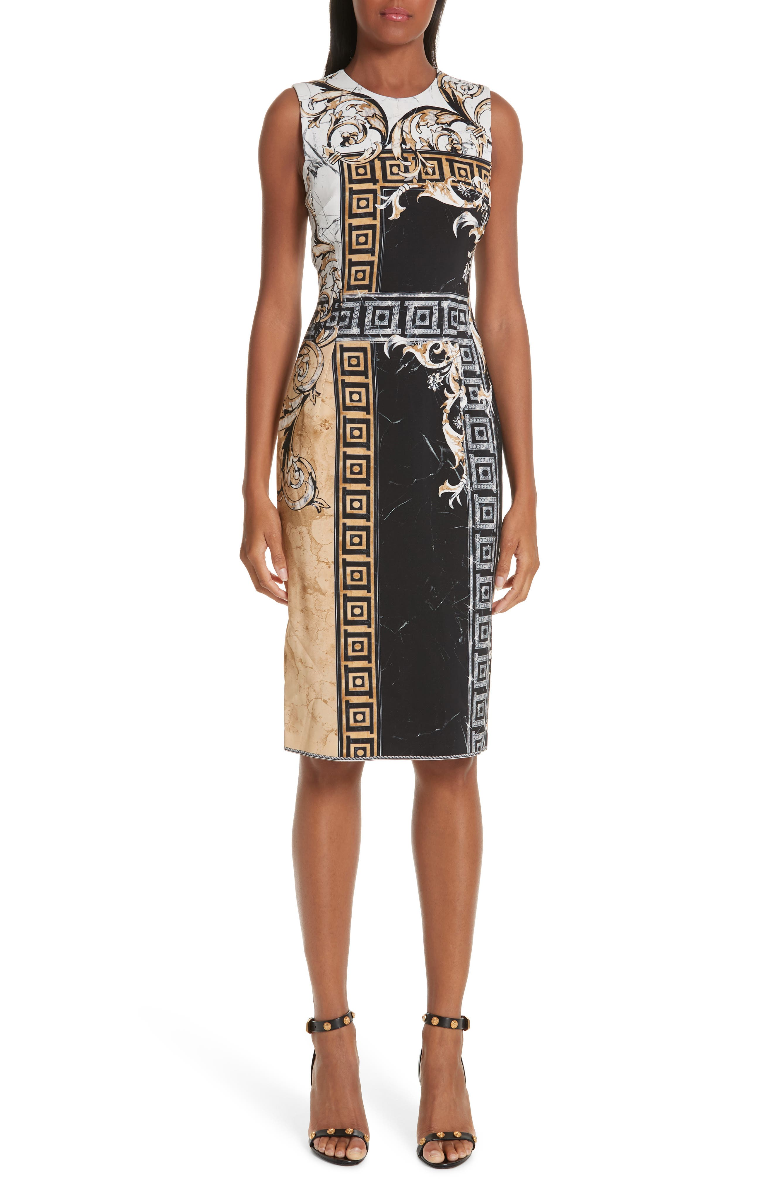 VERSACE COLLECTION, Marble Print Sheath Dress, Main thumbnail 1, color, BLACK