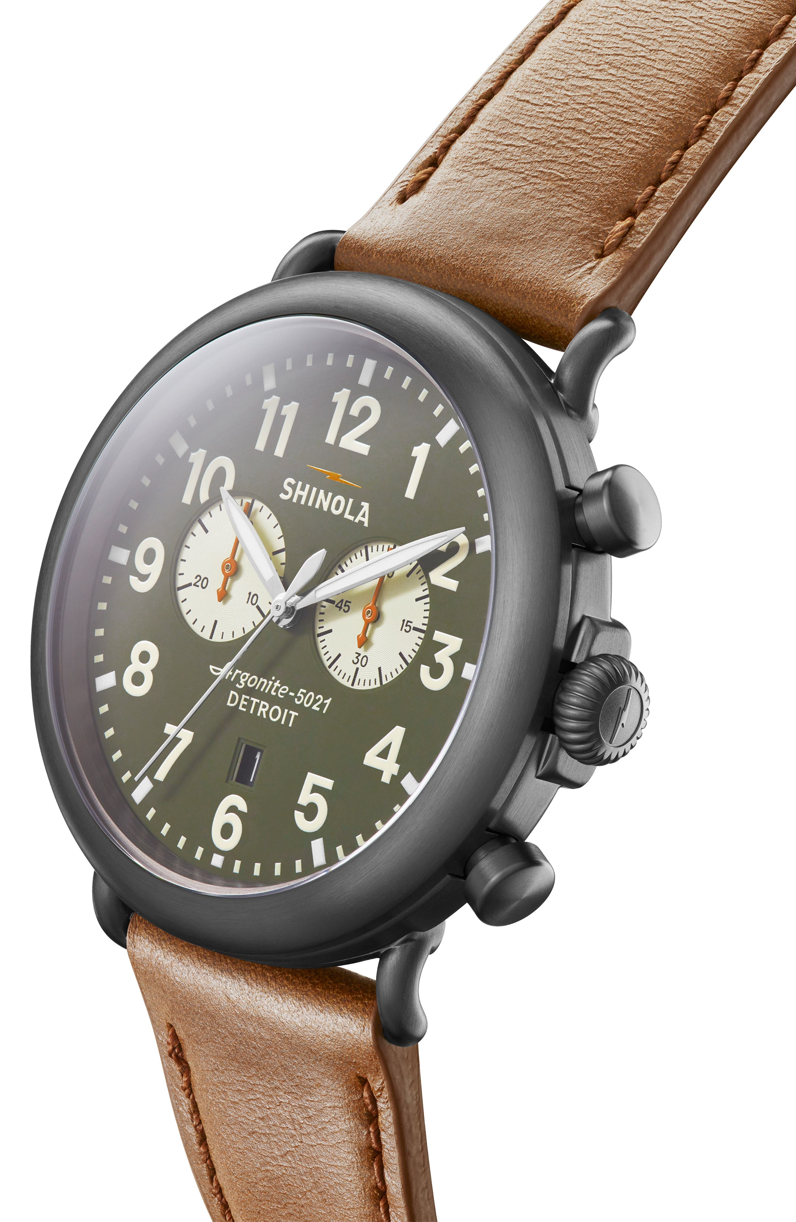 SHINOLA, The Runwell Chrono Leather Strap Watch, 47mm, Alternate thumbnail 5, color, TAN/ SPRUCE/ GUNMETAL