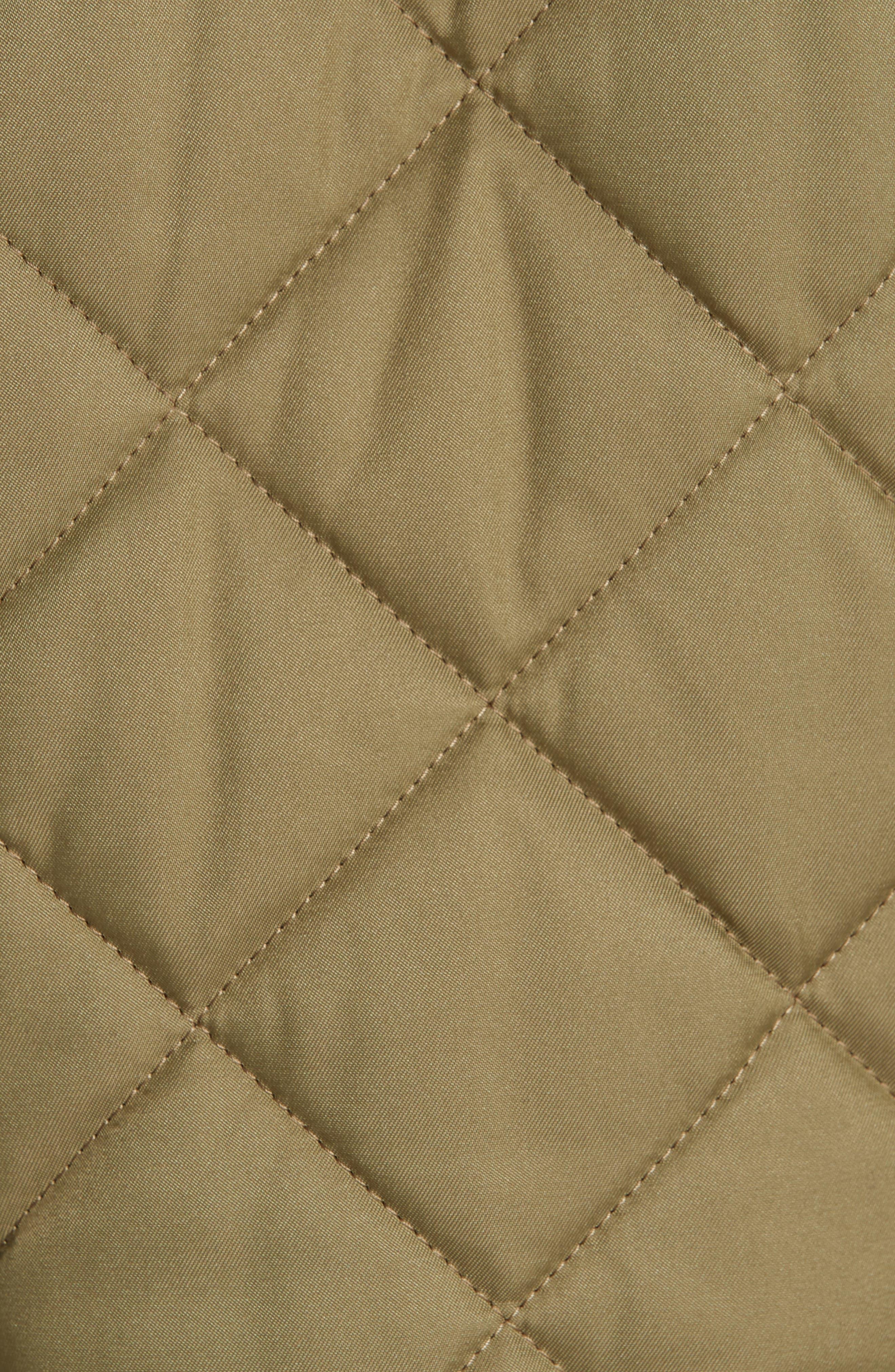 BURBERRY, Franwell Diamond Quilted Jacket, Alternate thumbnail 6, color, LIGHT KHAKI