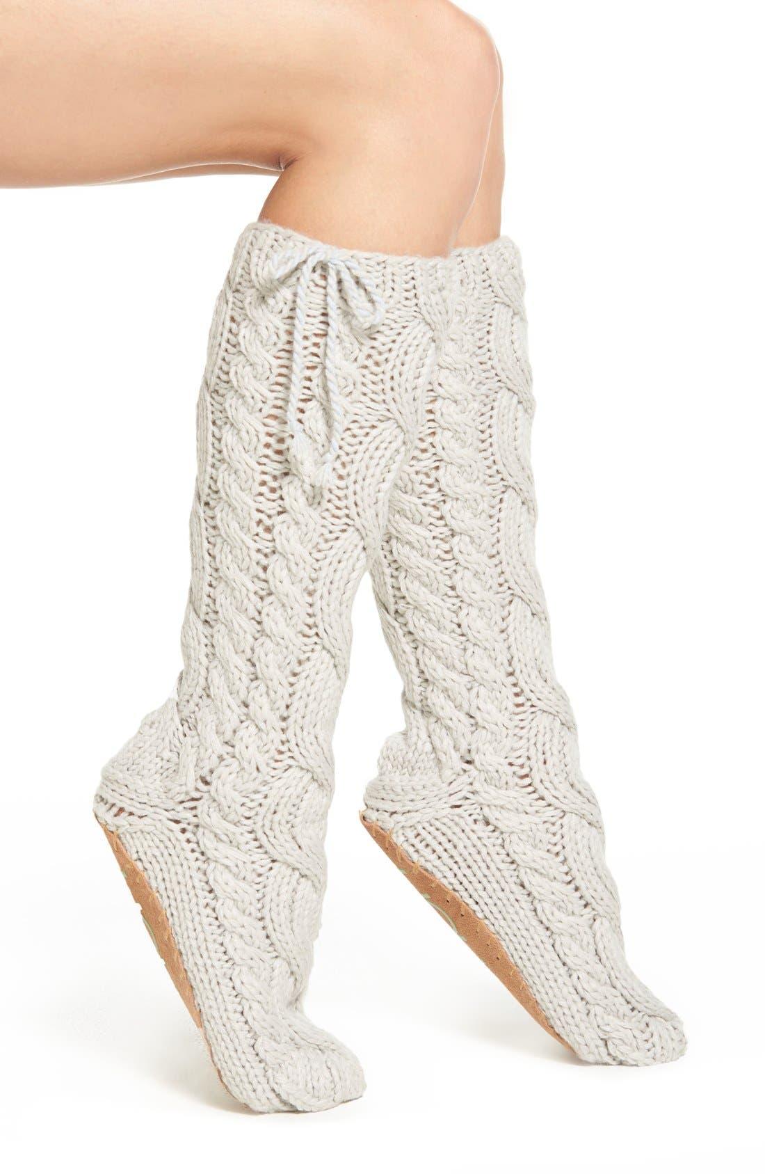 LEMON, 'Arctic' Cable Knit Knee High Slippers, Main thumbnail 1, color, 020
