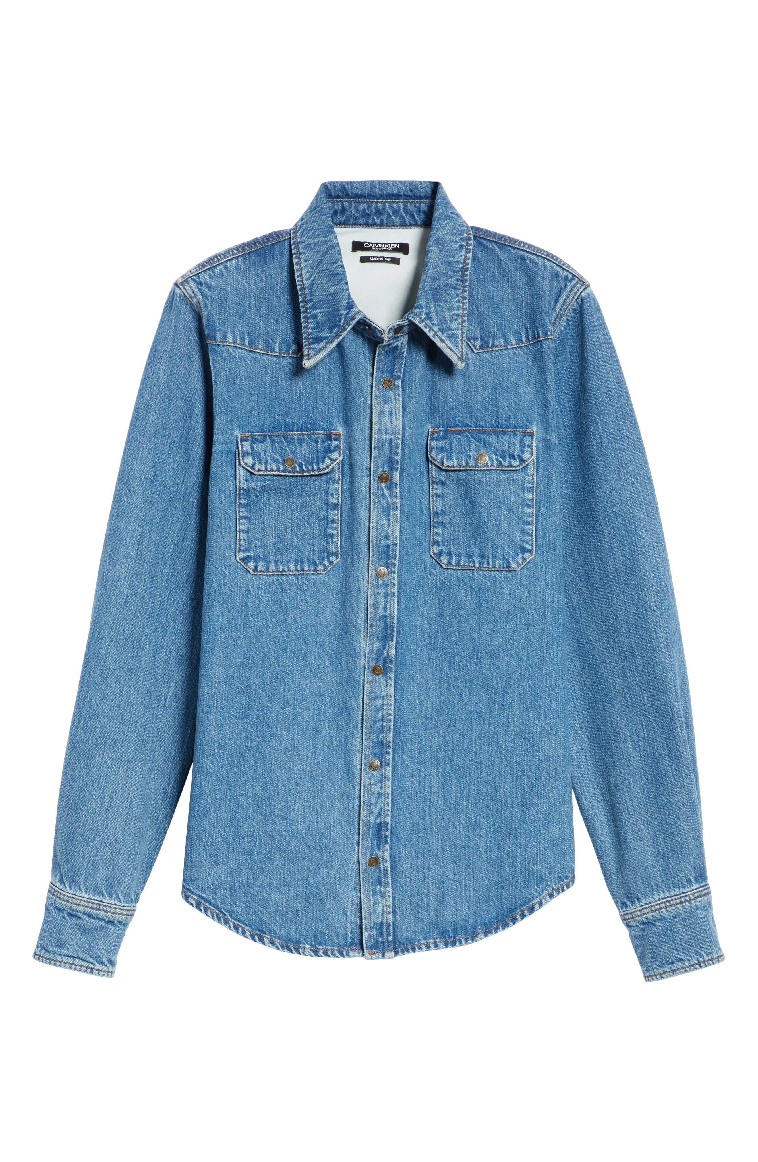 CALVIN KLEIN 205W39NYC, Denim Shirt, Alternate thumbnail 6, color, BLUE