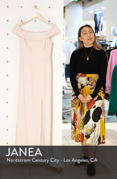 Off the Shoulder Side Slit Crepe Gown, sales video thumbnail