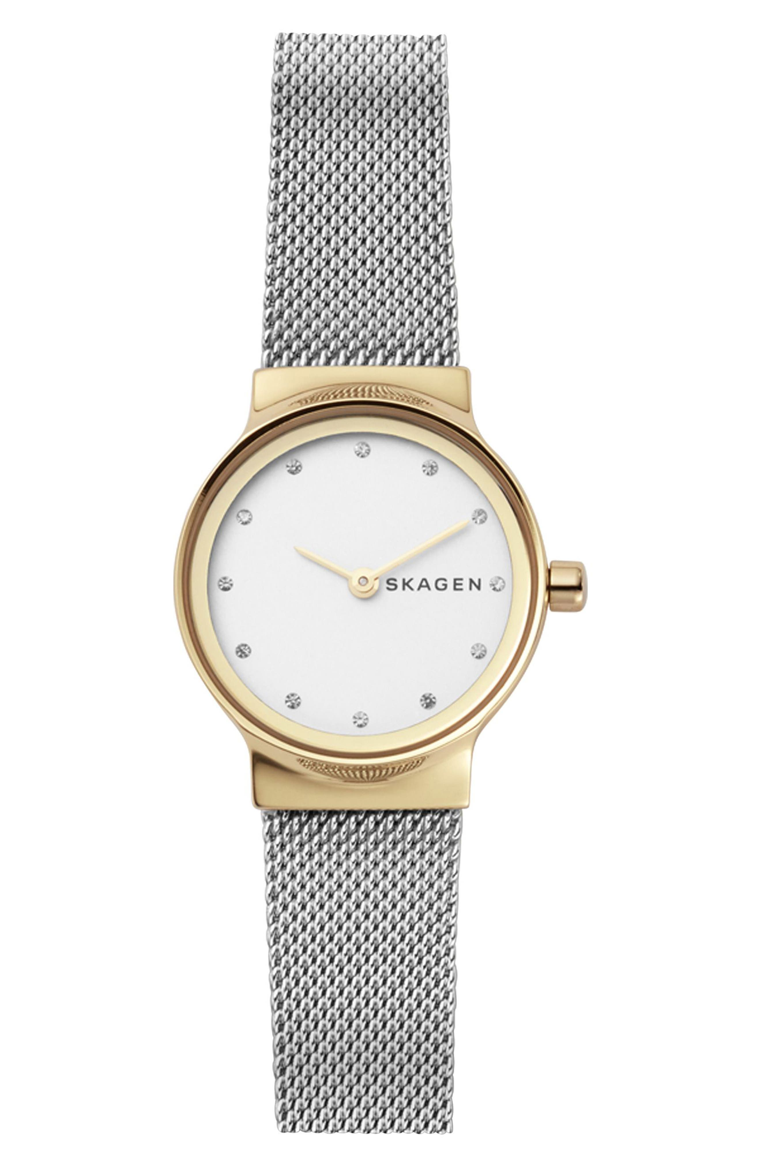 SKAGEN, Freja Crystal Accent Mesh Strap Watch, 26mm, Main thumbnail 1, color, SILVER/ WHITE/ GOLD