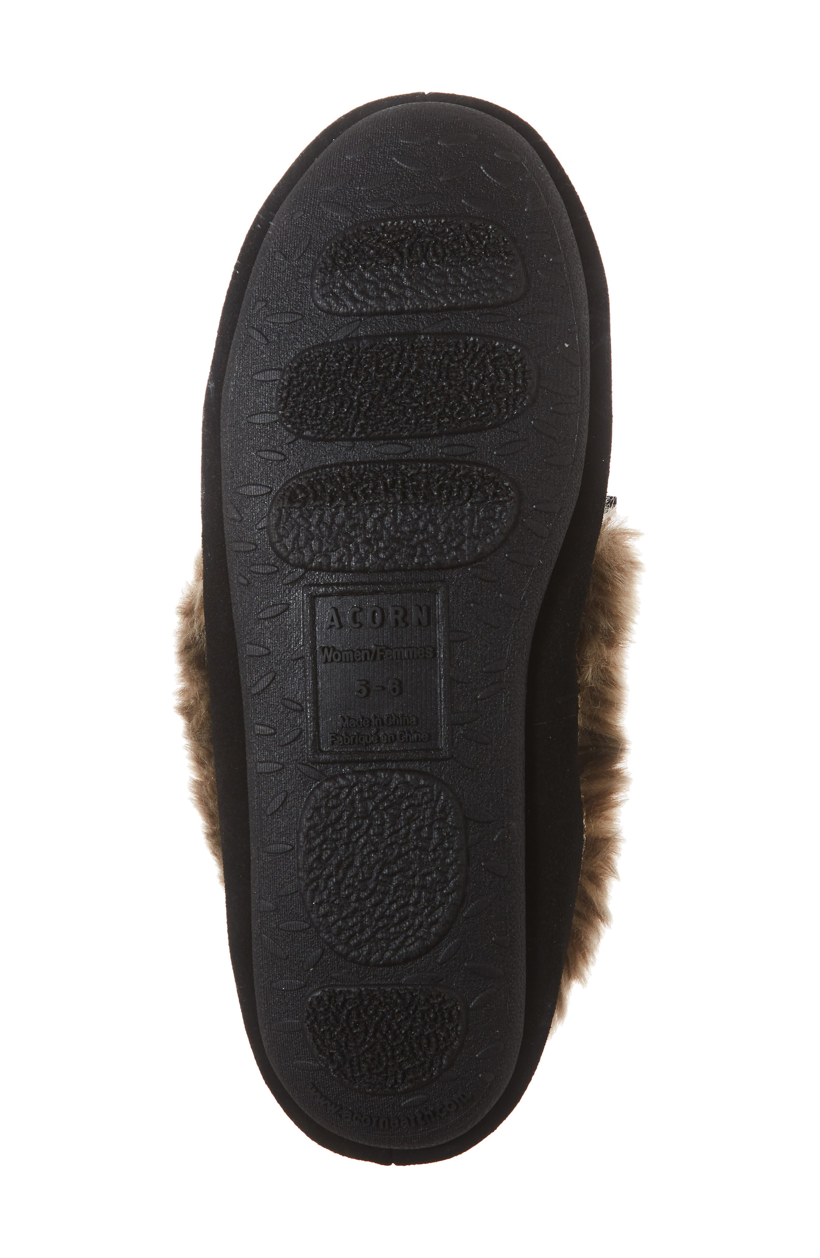 ACORN, Faux Fur Trim Moccasin Indoor/Outdoor Slipper, Alternate thumbnail 6, color, BLACK SUEDE