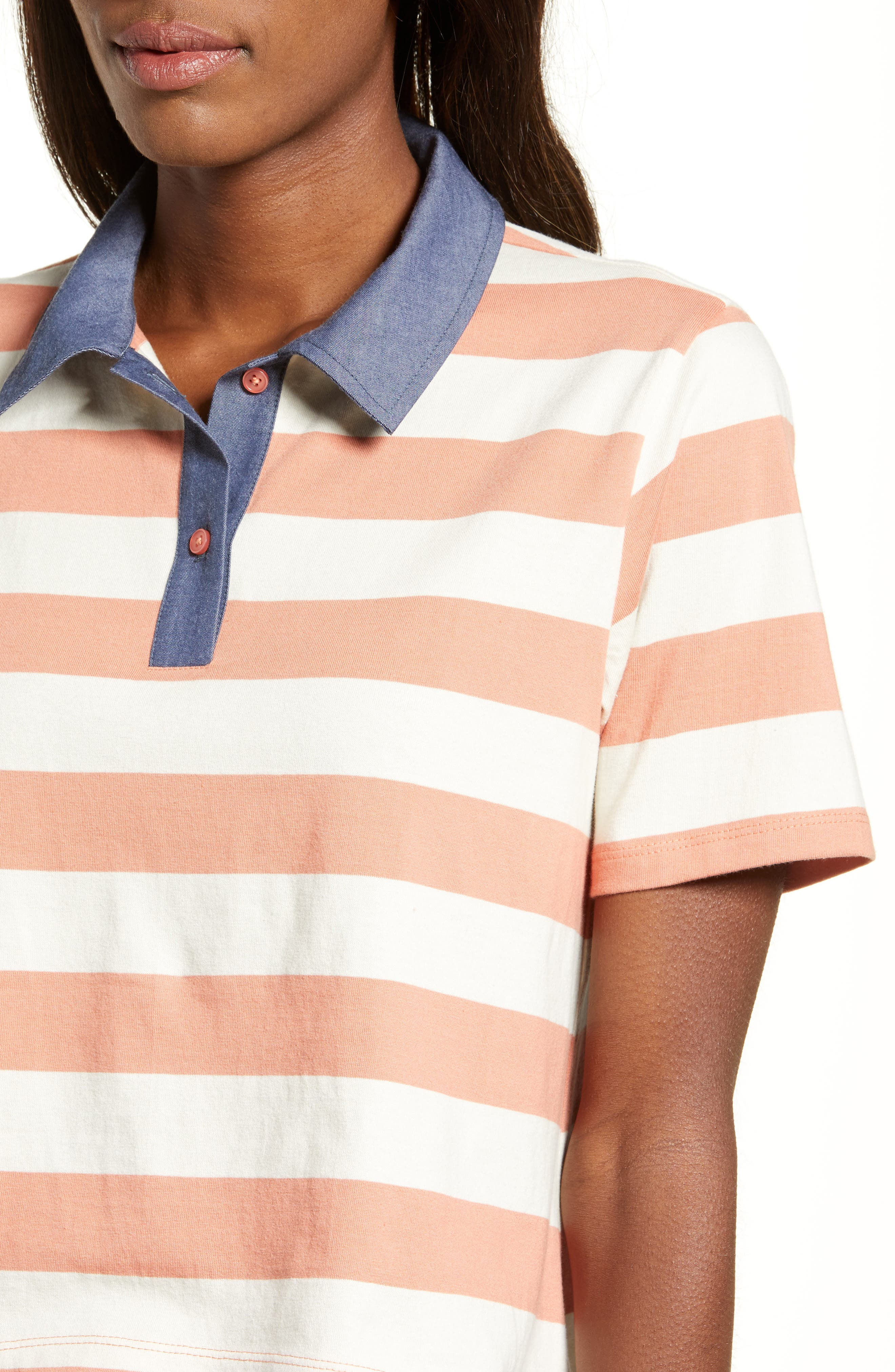 BP., Chambray Collar Polo, Alternate thumbnail 5, color, CORAL CLAY ROCKYPORT STRIPE