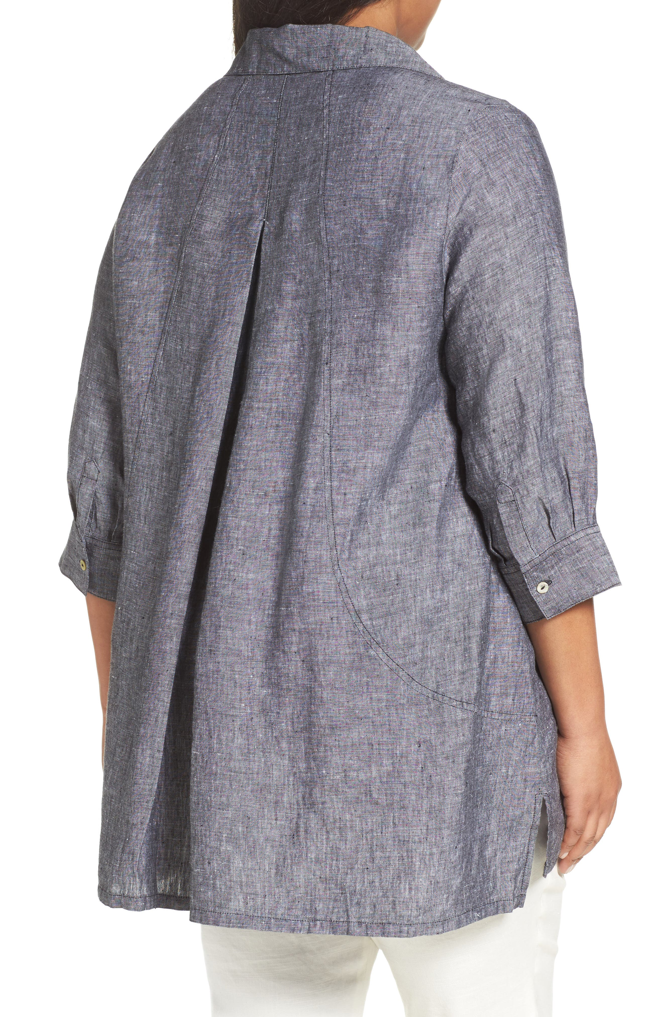 FOXCROFT, Chambray Linen Tunic Shirt, Alternate thumbnail 2, color, BLACK