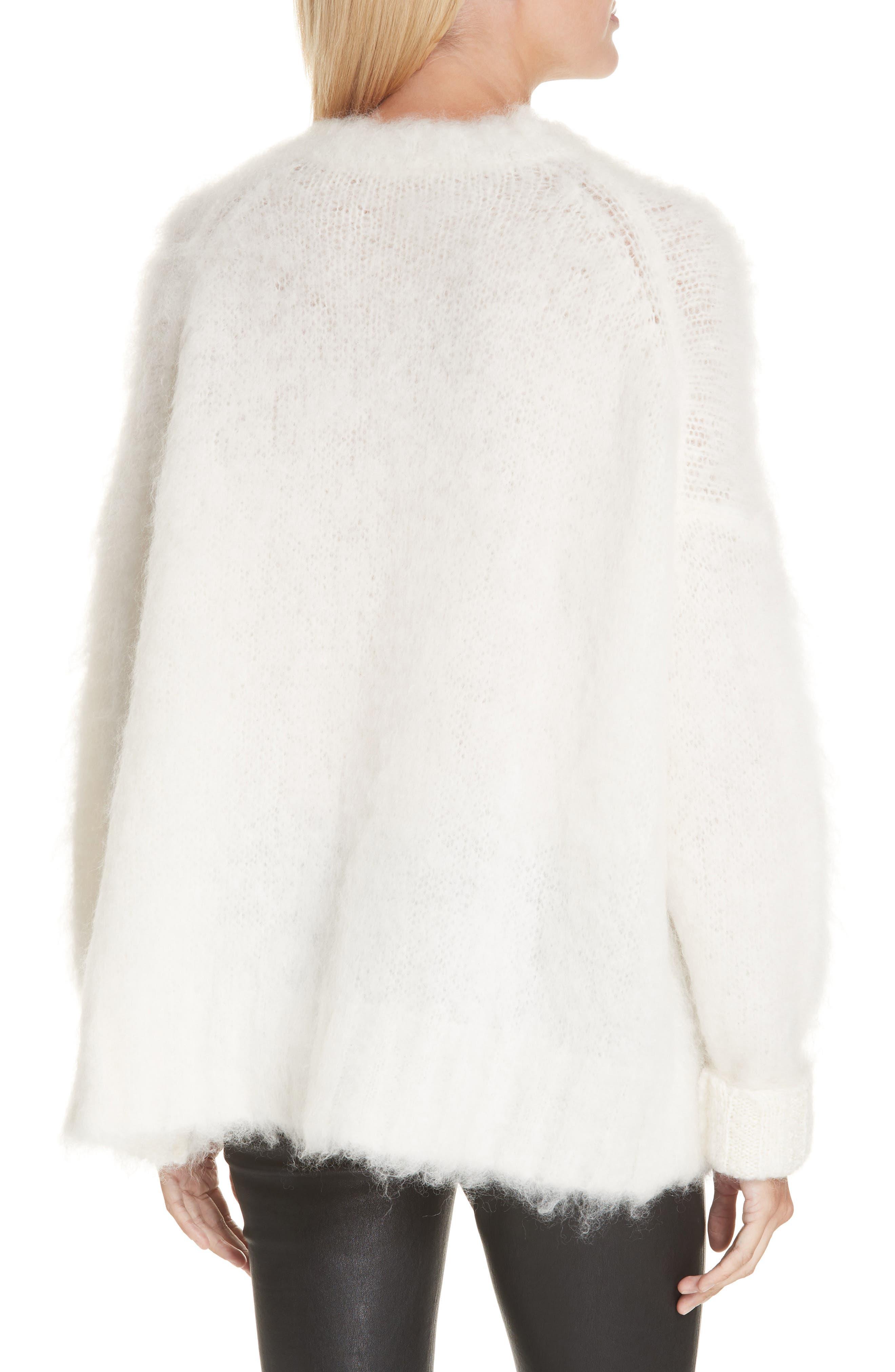 HELMUT LANG, Mohair Blend Sweater, Alternate thumbnail 2, color, NATURAL WHITE