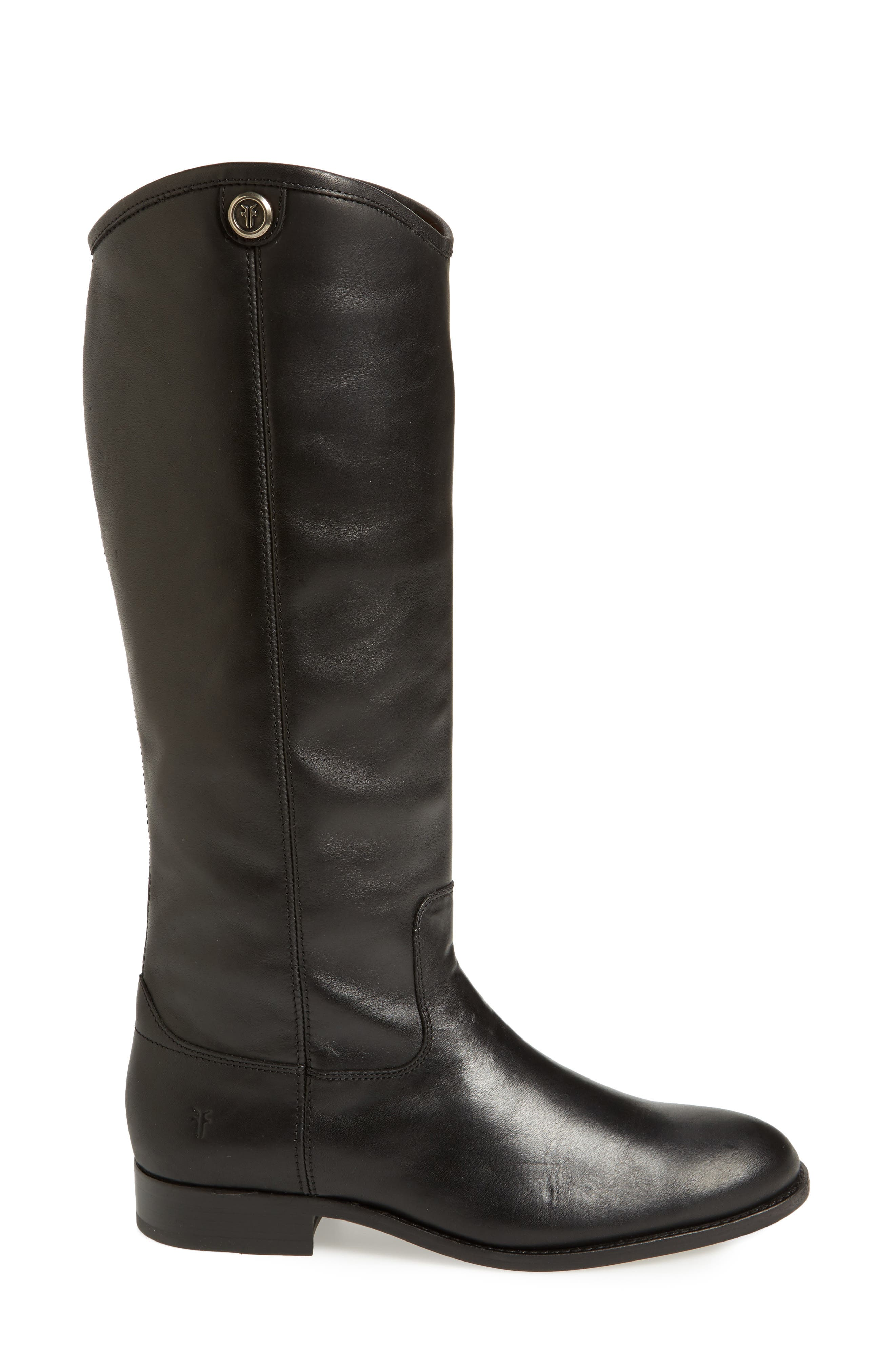 FRYE, Melissa Button 2 Knee High Boot, Alternate thumbnail 3, color, BLACK LEATHER