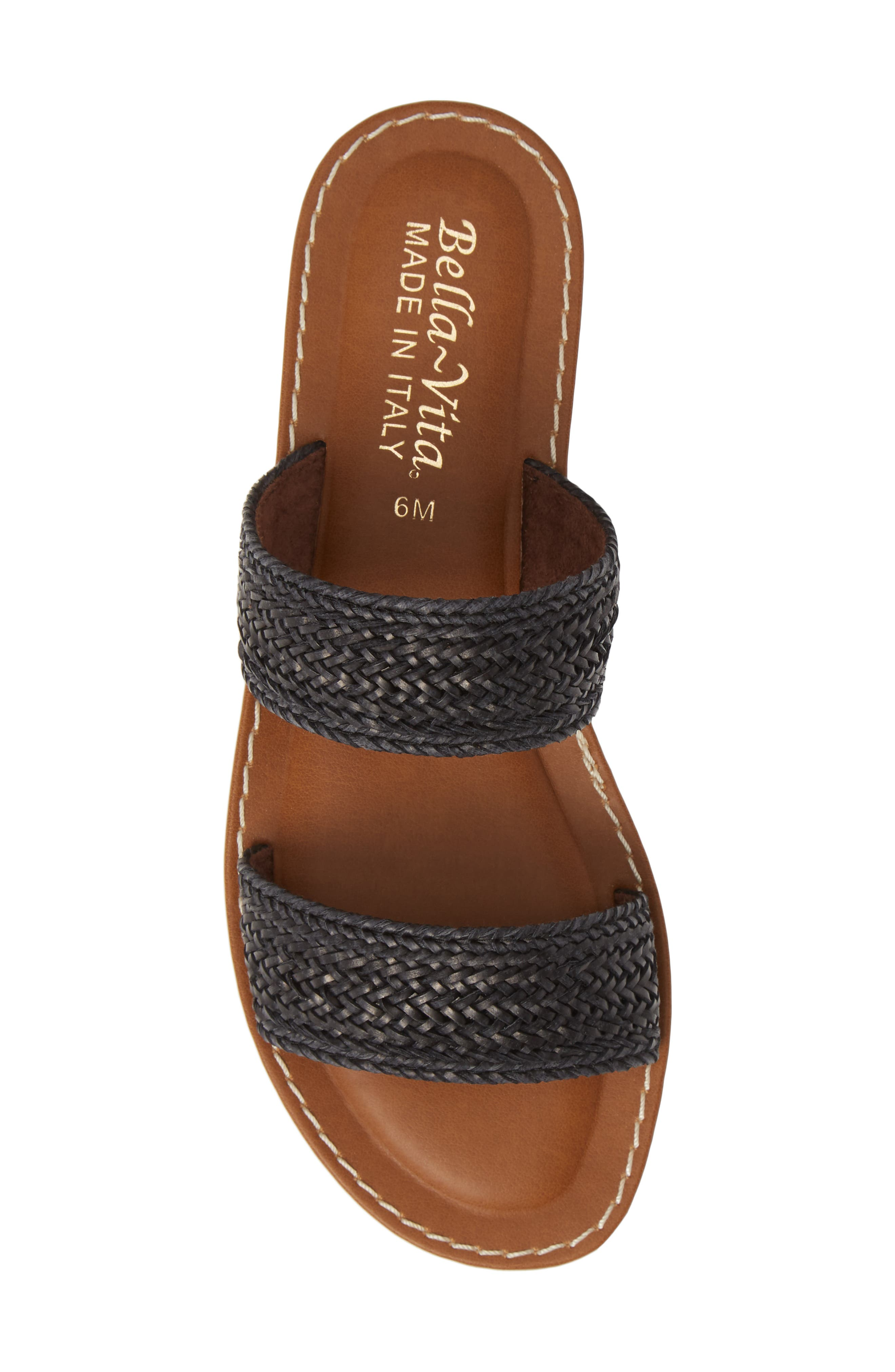BELLA VITA, Two-Strap Slide Sandal, Alternate thumbnail 5, color, BLACK WOVEN
