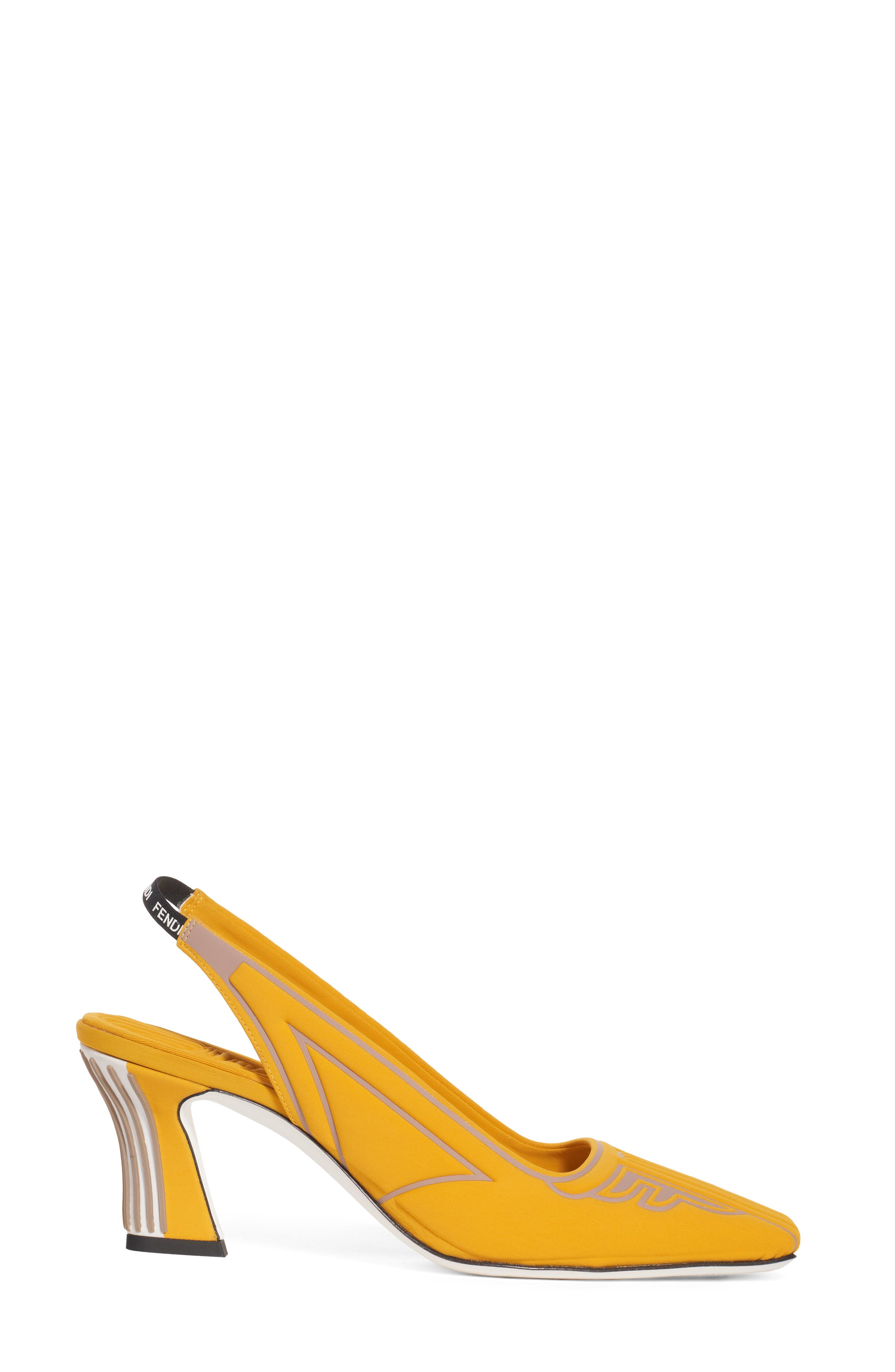 FENDI, FFreedom Logo Slingback Pump, Alternate thumbnail 3, color, YELLOW