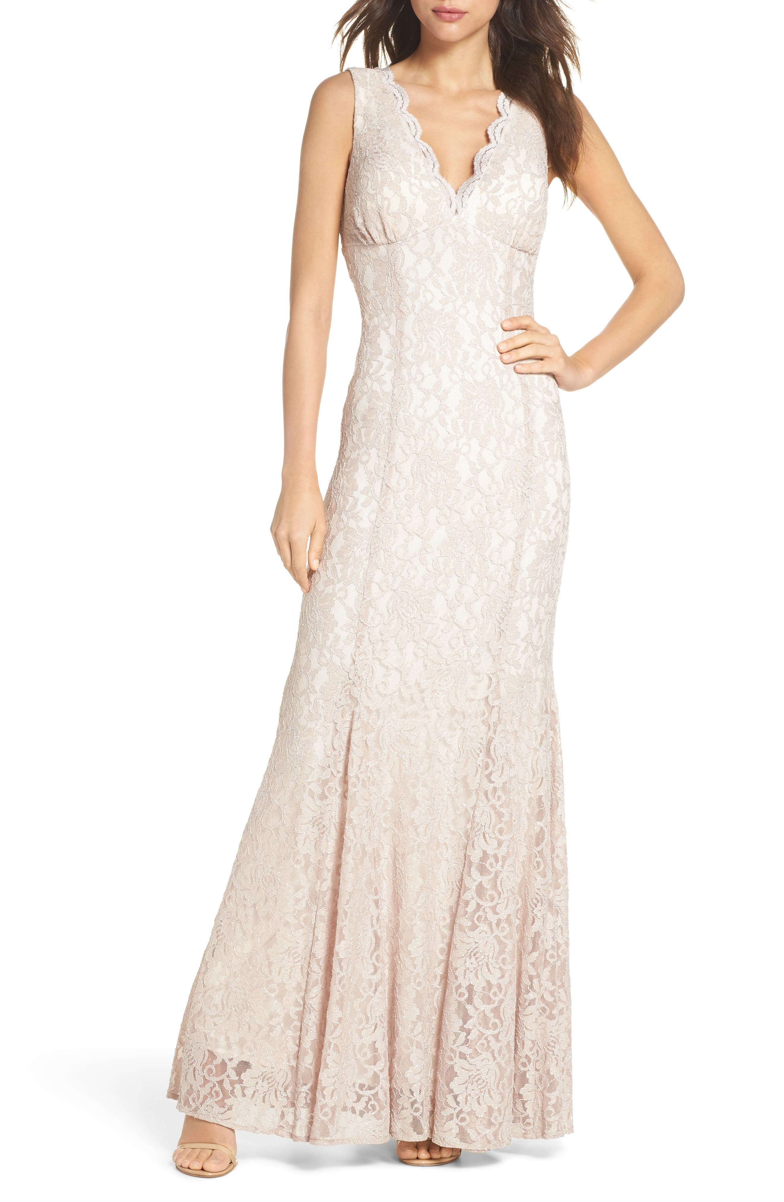 MORGAN & CO., Glitter Lace Trumpet Dress, Main thumbnail 1, color, CHAMPAGNE / IVORY
