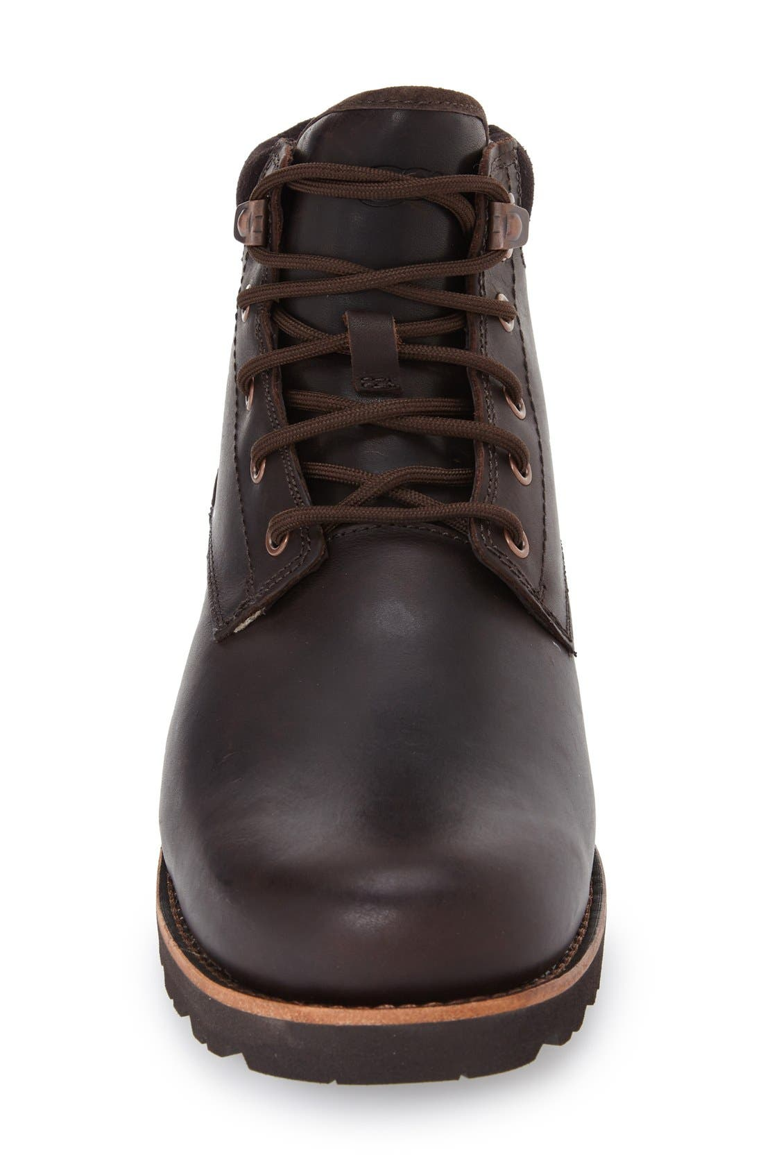 UGG<SUP>®</SUP>, Seton Waterproof Chukka Boot, Alternate thumbnail 3, color, STOUT