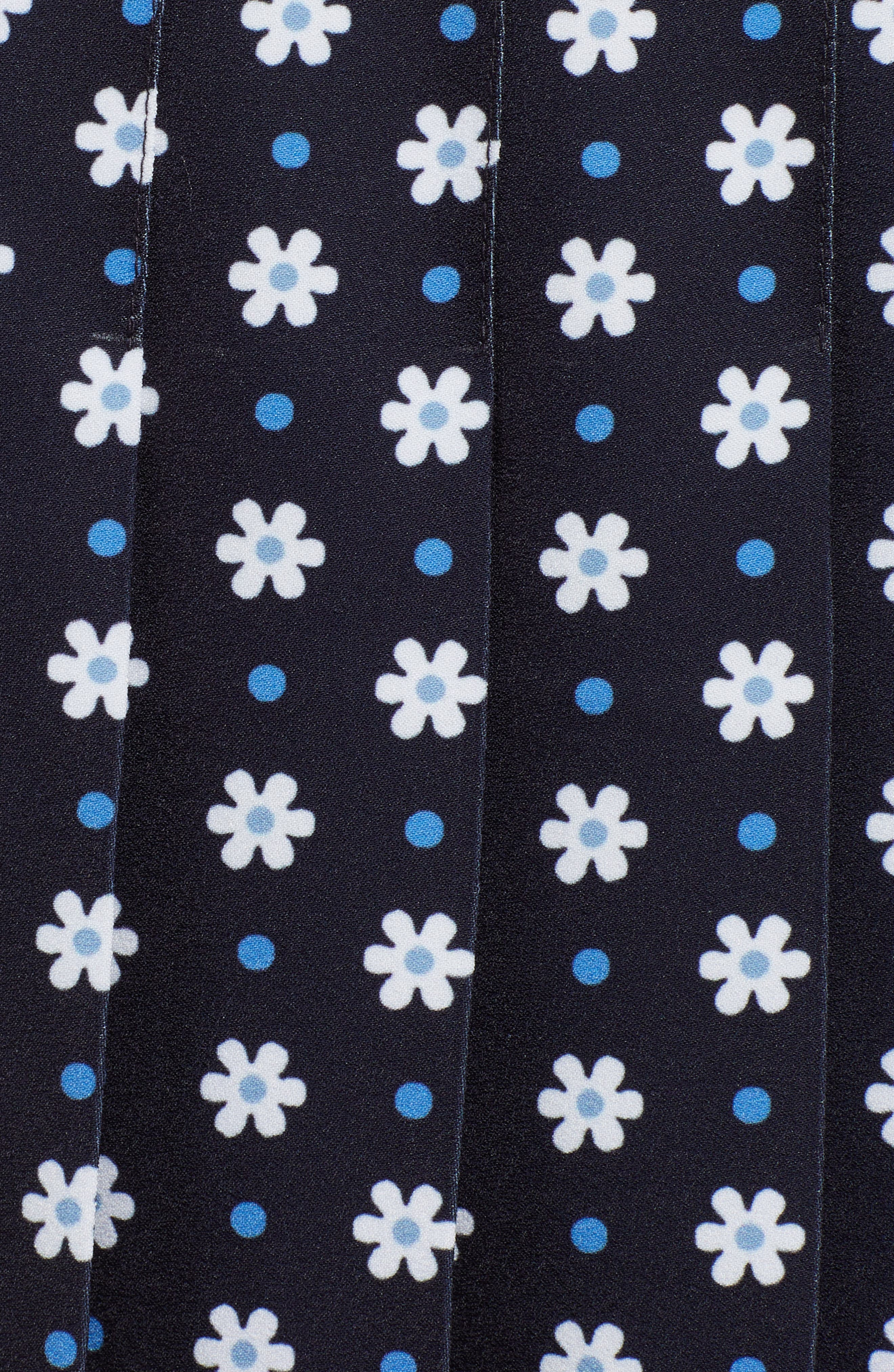 1901, Pleated Tennis Skirt, Alternate thumbnail 5, color, NAVY NIGHT DAISY DOT