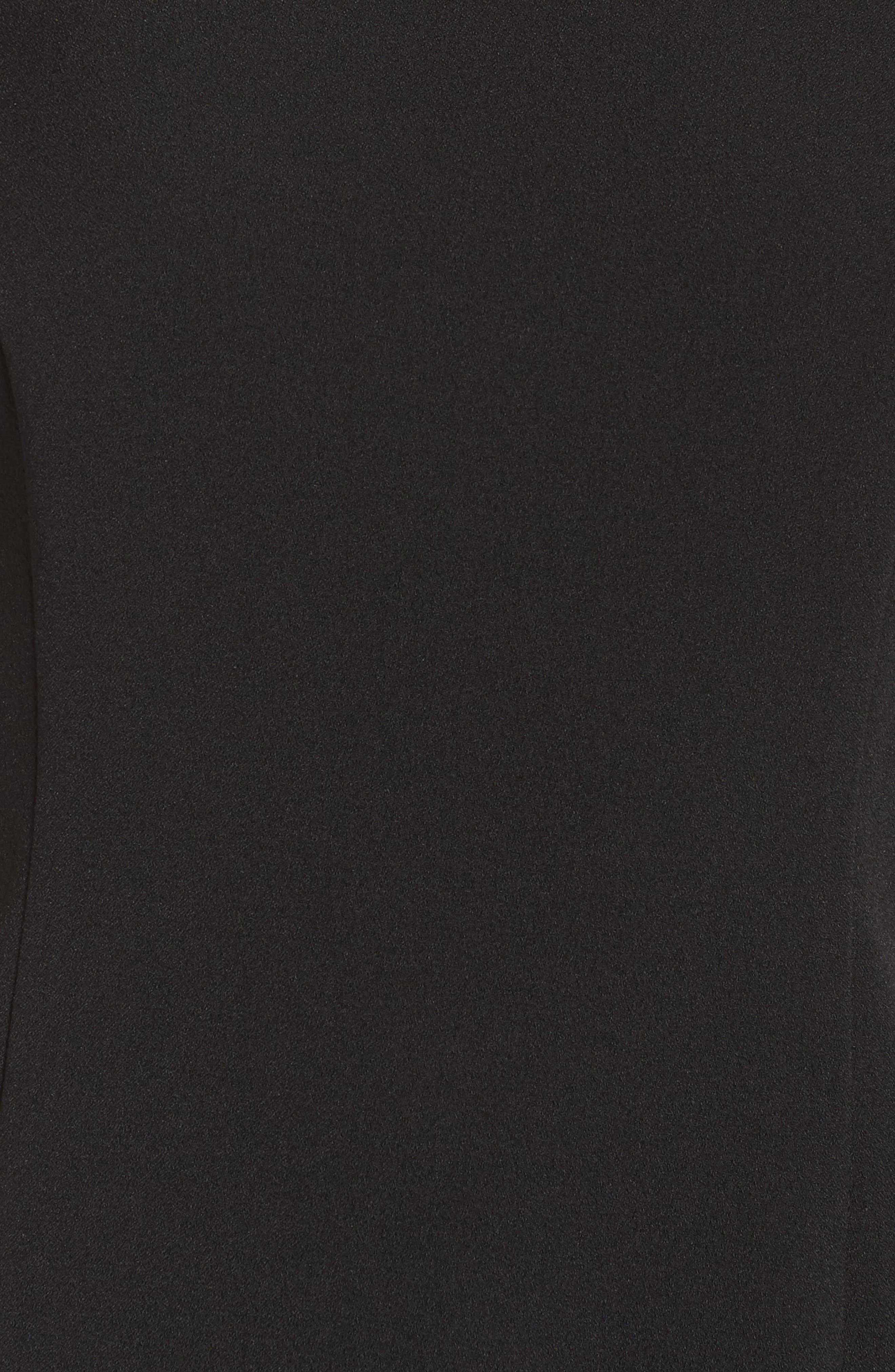 CHELSEA28, Feather Hem Sheath Dress, Alternate thumbnail 6, color, BLACK