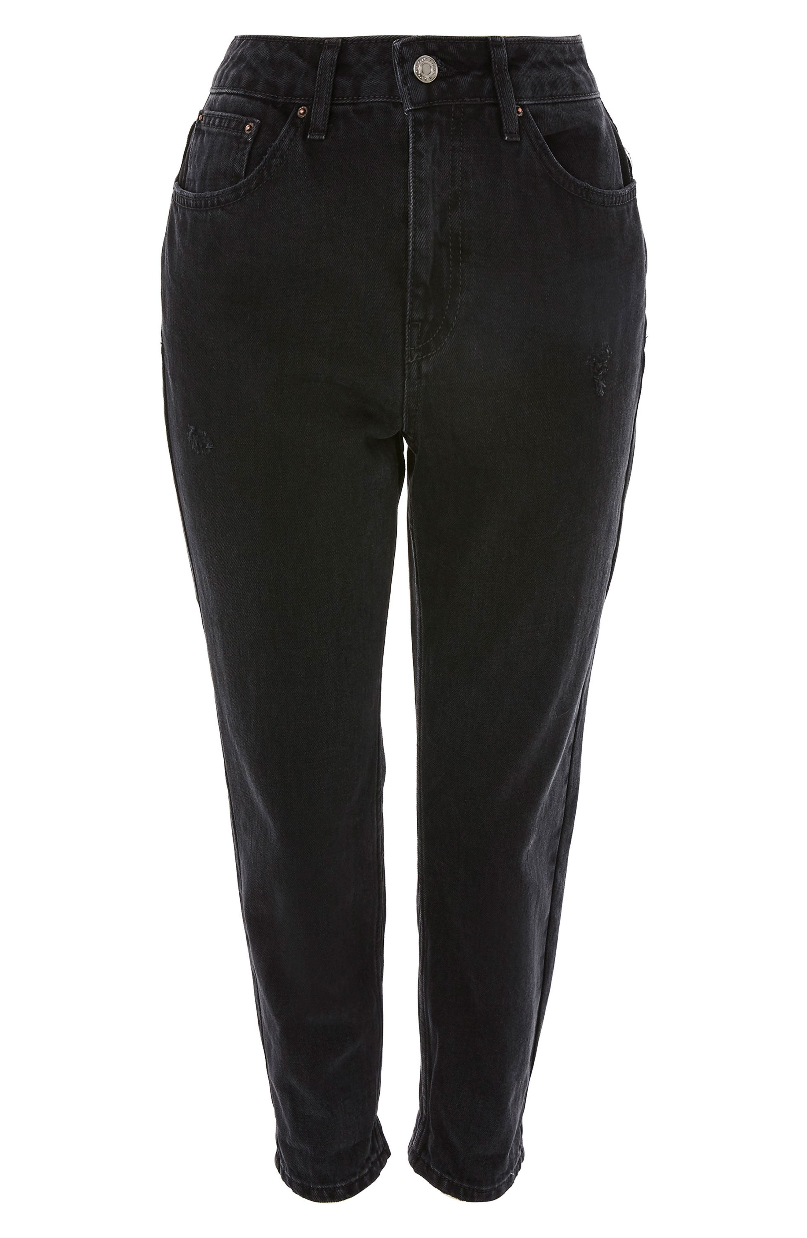 TOPSHOP, Black Mom Jeans, Alternate thumbnail 3, color, BLACK