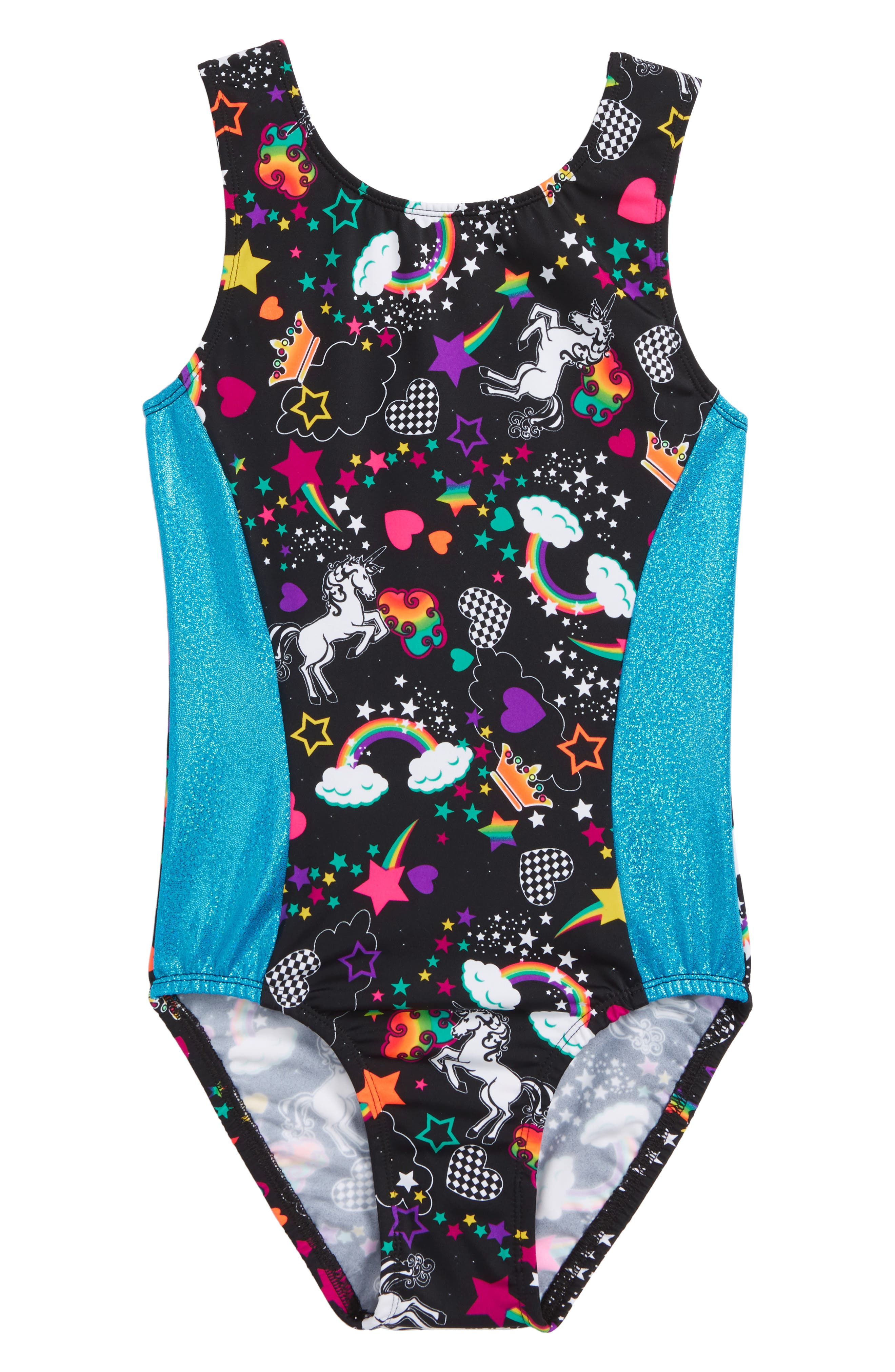 GP SPORT, Unicorn Forever Perfect Fit Leotard, Main thumbnail 1, color, BLACK