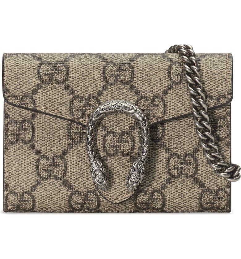 ff7069e705e Gucci Dionysus GG Supreme Canvas Coin Purse on a Chain