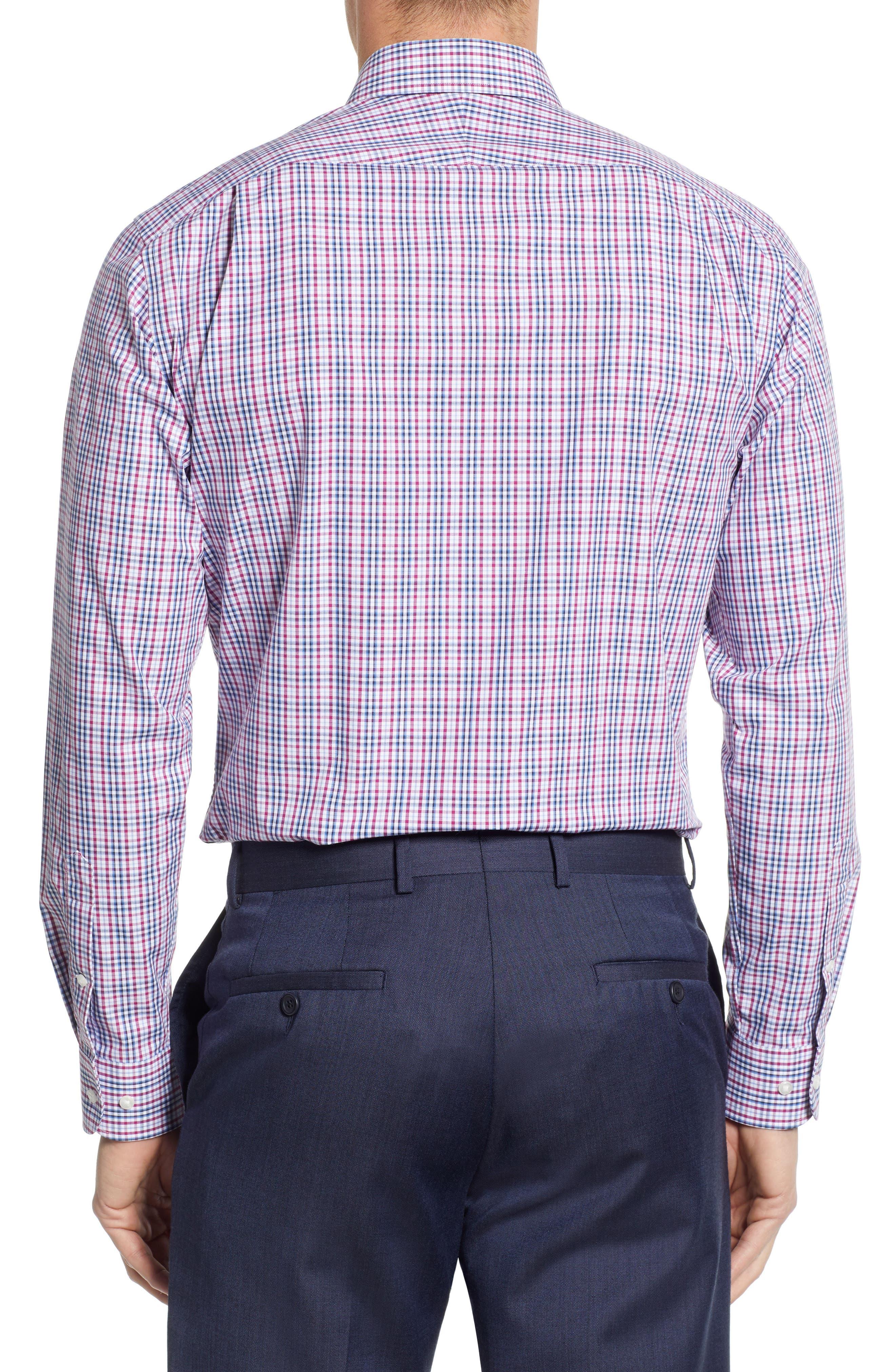 NORDSTROM MEN'S SHOP, Non-Iron Trim Fit Plaid Dress Shirt, Alternate thumbnail 3, color, PURPLE BOYSEN