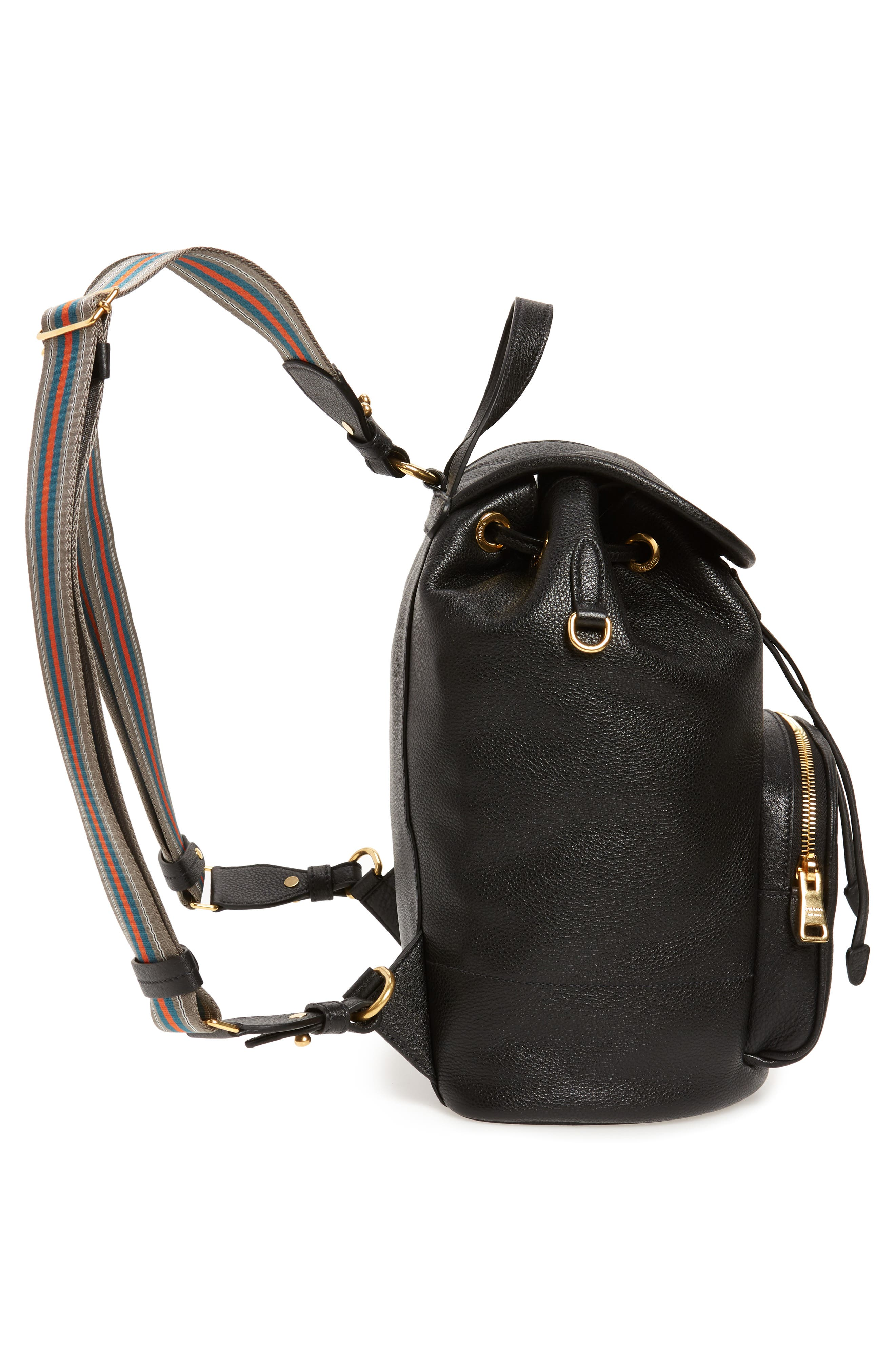 PRADA, Vitello Daino Pebbled Leather Backpack, Alternate thumbnail 6, color, 001