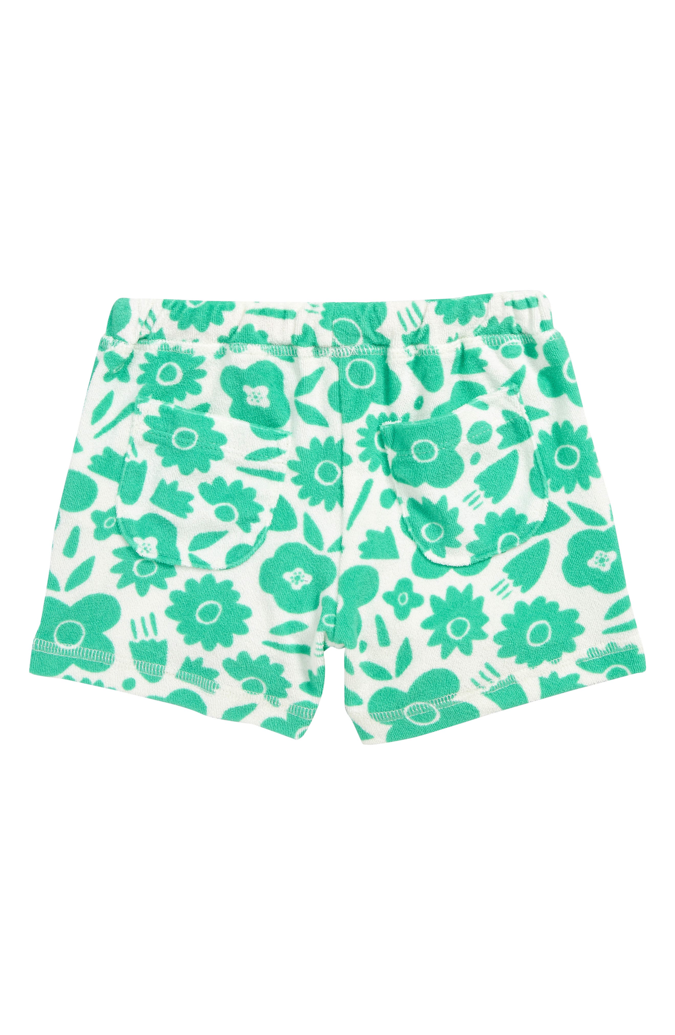 MINI BODEN, Terry Cloth Shorts, Alternate thumbnail 2, color, GRN JUNGLE GREEN POP FLORAL