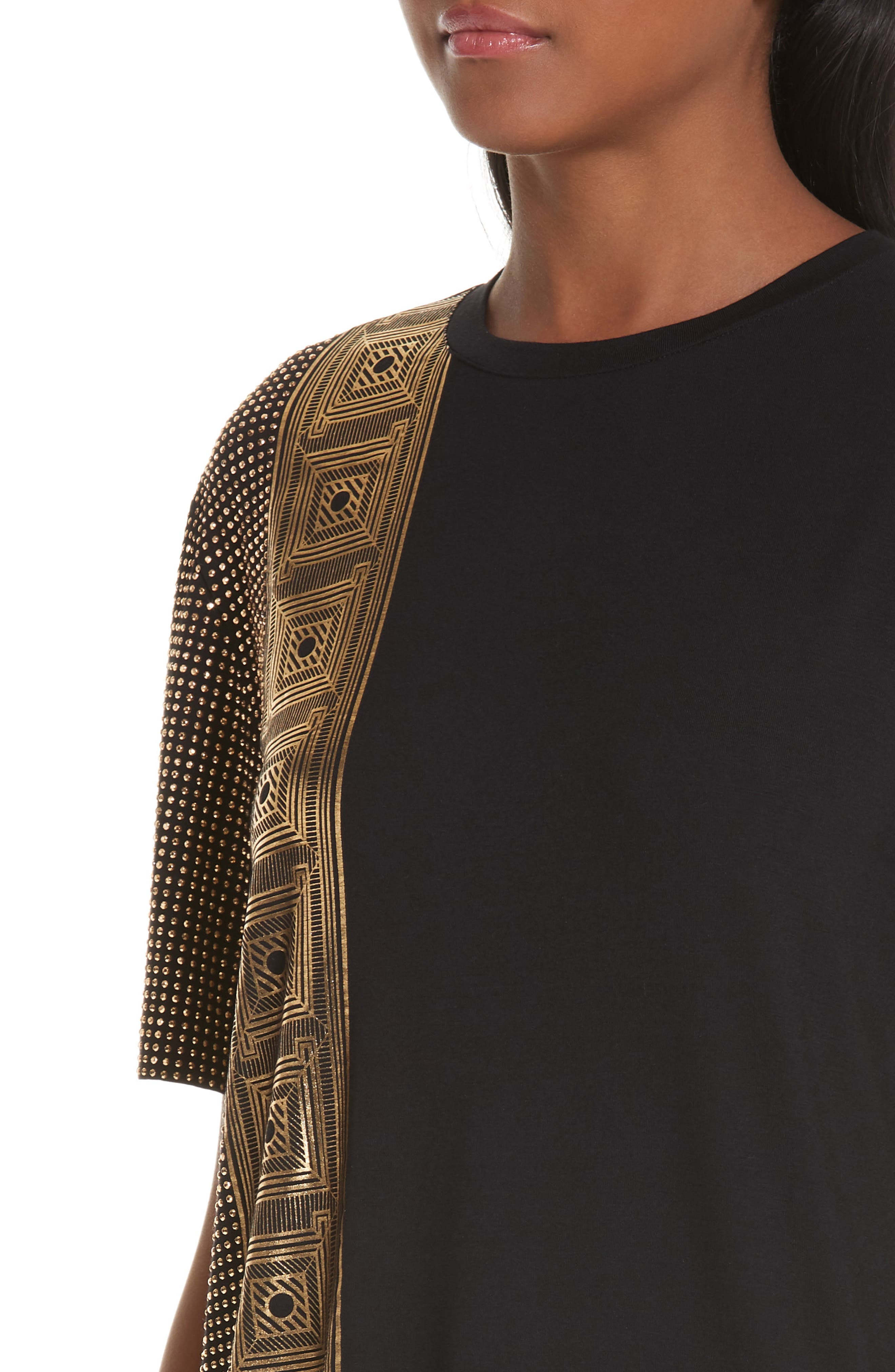 VERSACE COLLECTION, Embellished Tee, Alternate thumbnail 4, color, BLACK