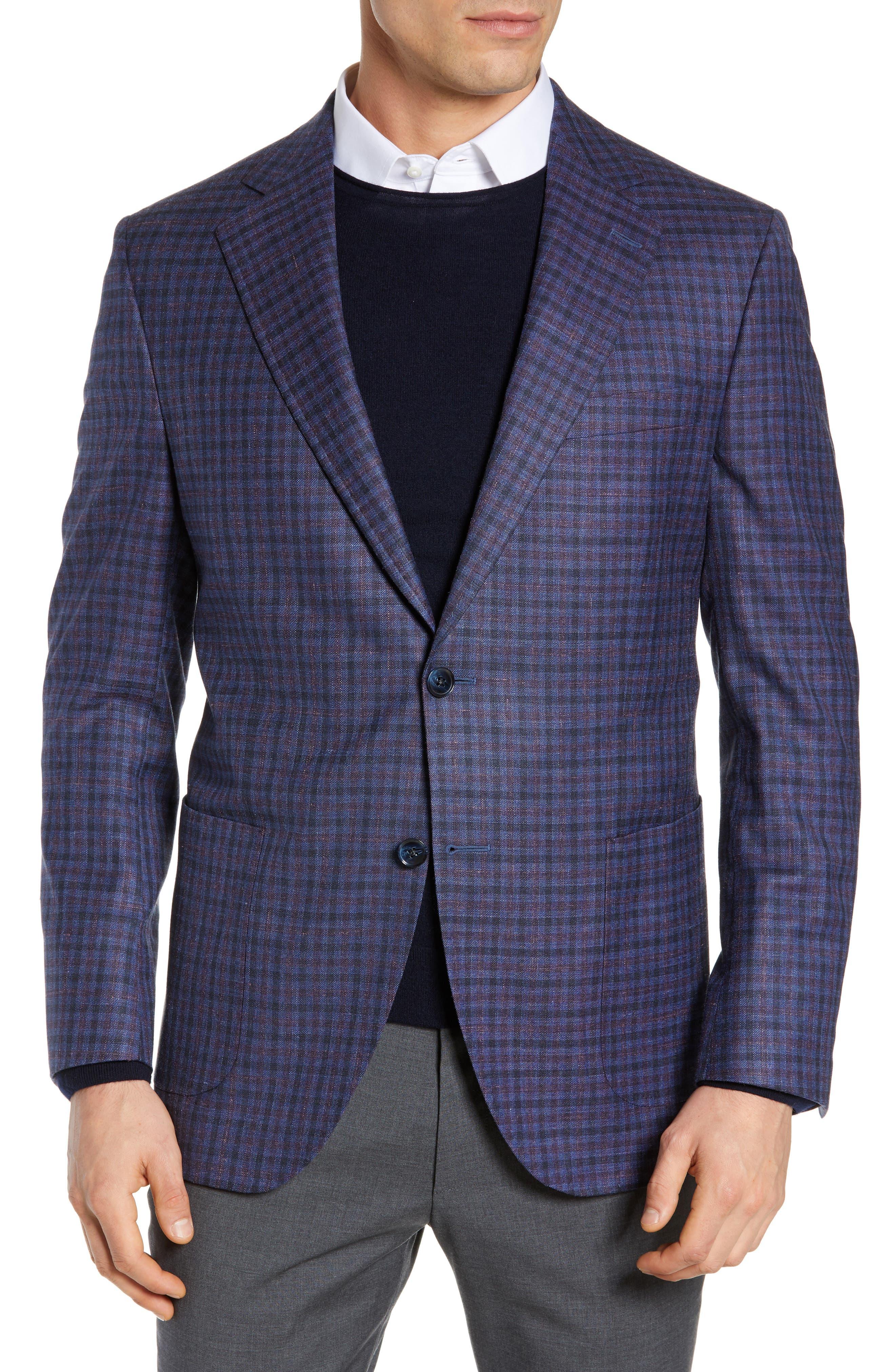 PETER MILLAR, Hyperlight Classic Fit Check Wool Blend Sport Coat, Main thumbnail 1, color, BLUE