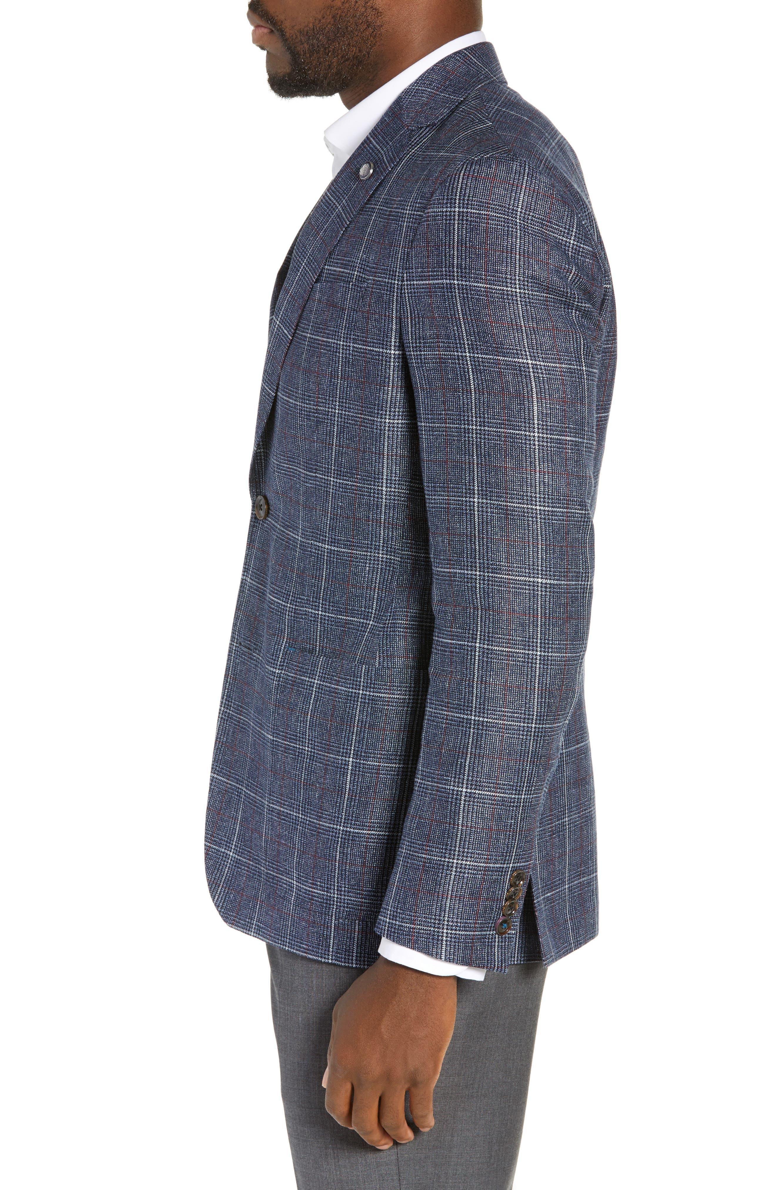 TED BAKER LONDON, Kyle Trim Fit Plaid Linen Blend Sport Coat, Alternate thumbnail 3, color, BLUE