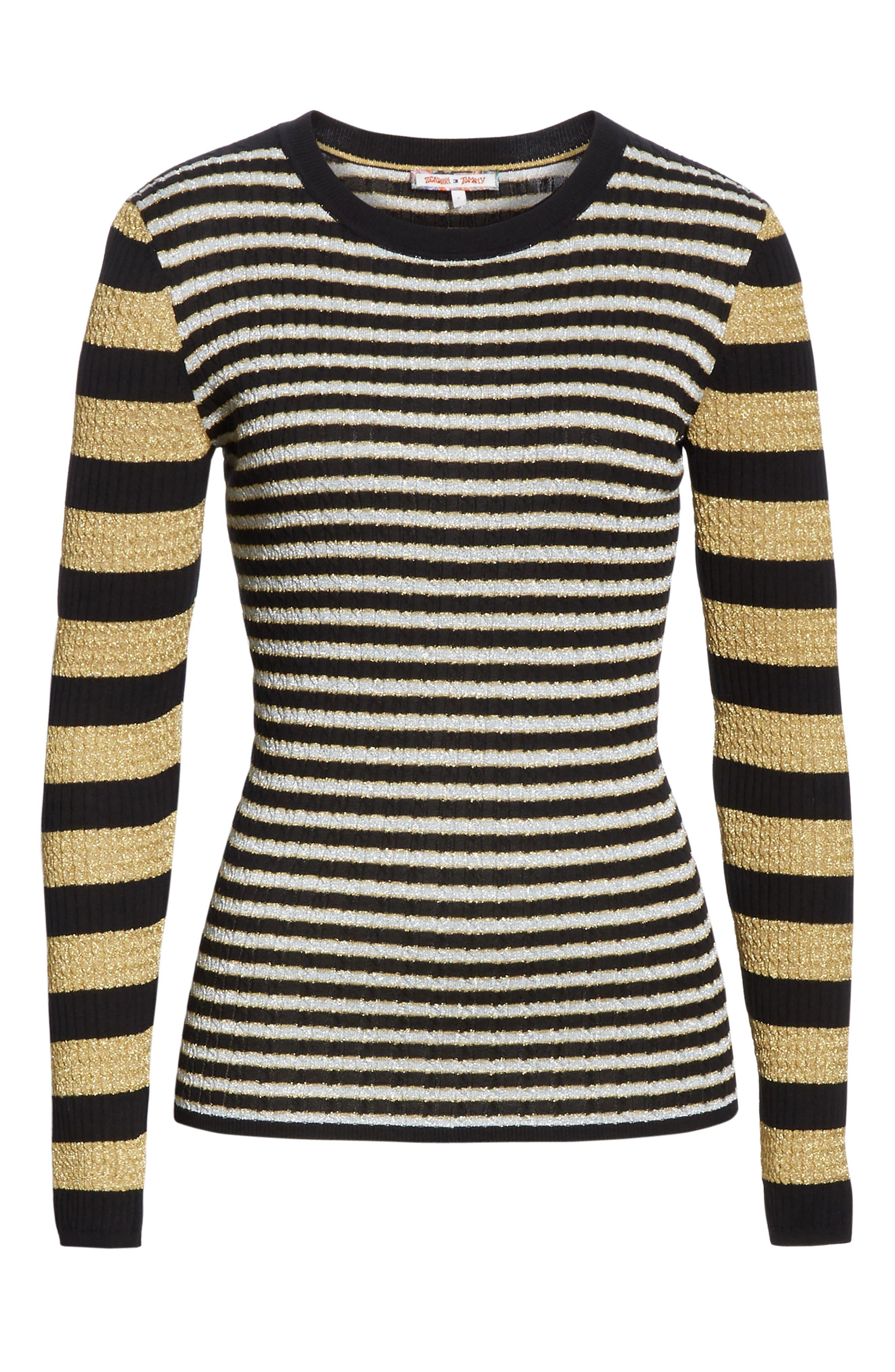 TOMMY X ZENDAYA, Metallic Stripe Knit Top, Alternate thumbnail 6, color, BLACK BEAUTY MULTI