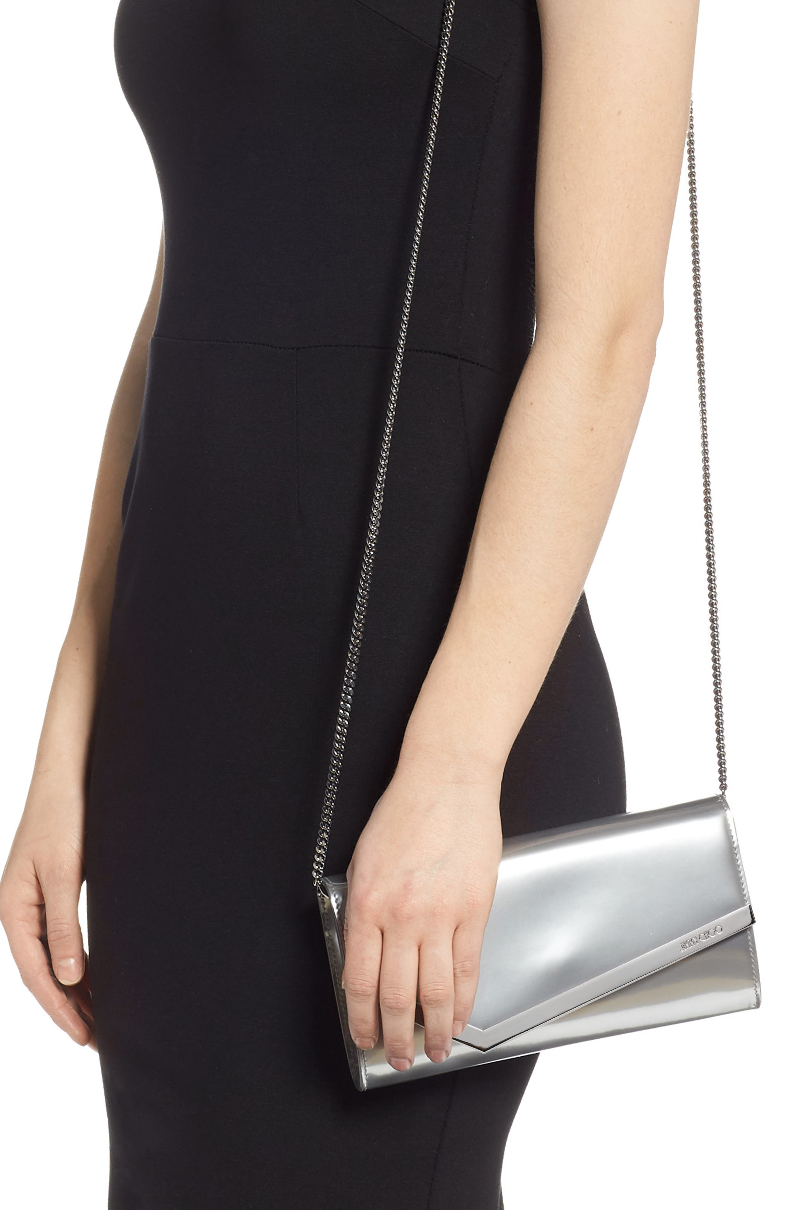 JIMMY CHOO, Emmie Metallic Leather Clutch, Alternate thumbnail 2, color, SILVER