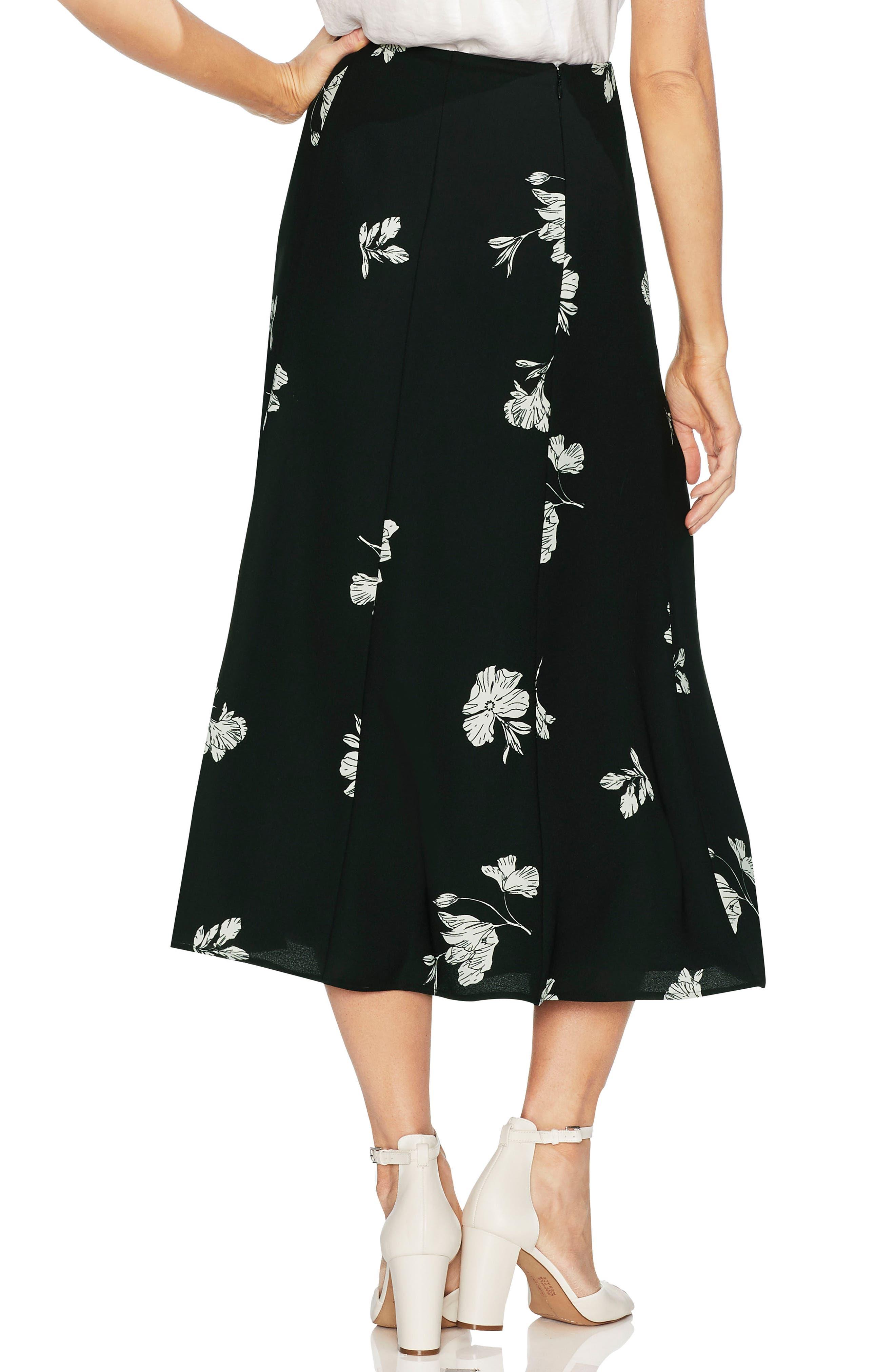 VINCE CAMUTO, Floral Print Skirt, Alternate thumbnail 2, color, 006