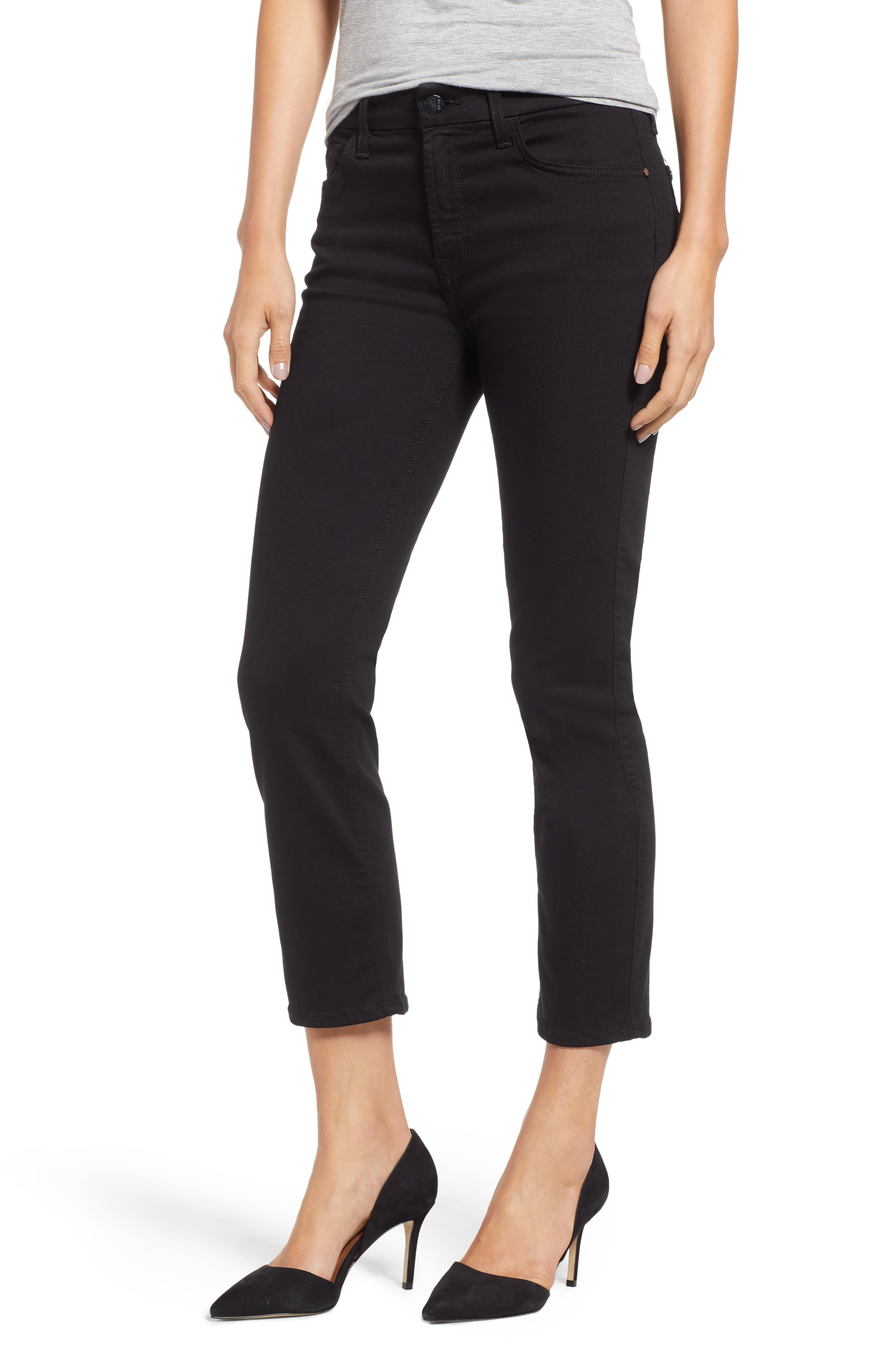JEN7 BY 7 FOR ALL MANKIND, Stretch Crop Straight Leg Jeans, Main thumbnail 1, color, BLACK