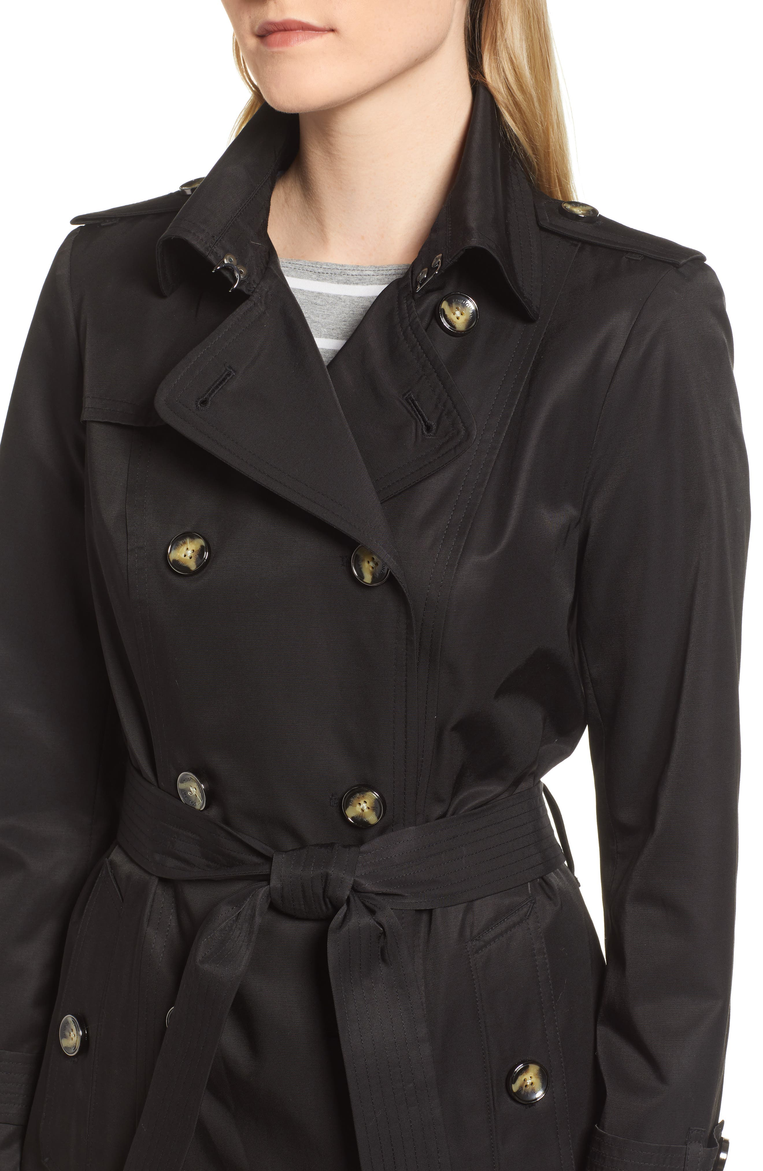 LONDON FOG, Double Breasted Trench Coat, Alternate thumbnail 5, color, BLACK