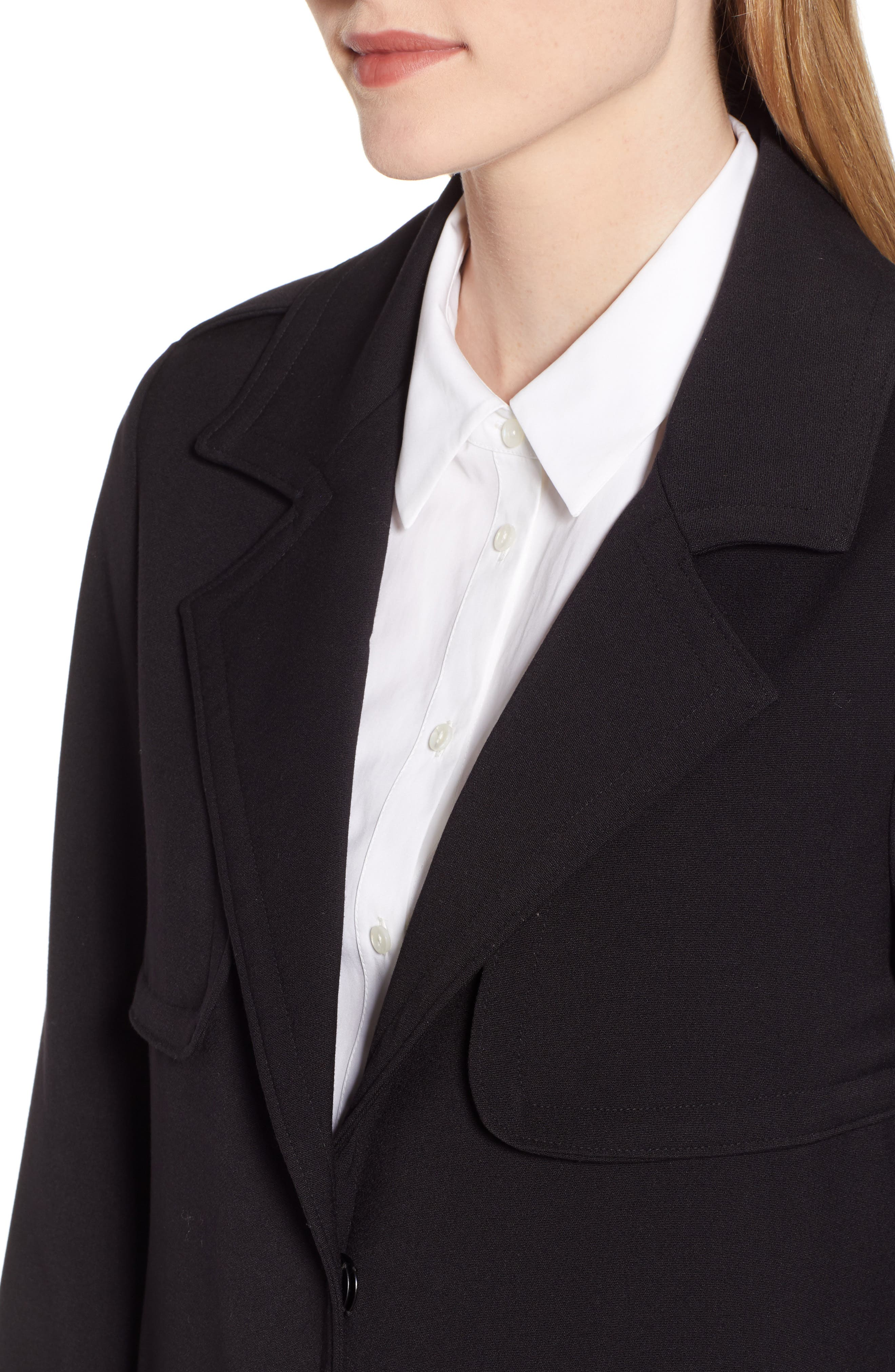 KENNETH COLE NEW YORK, Ponte Trench Coat, Alternate thumbnail 5, color, BLACK