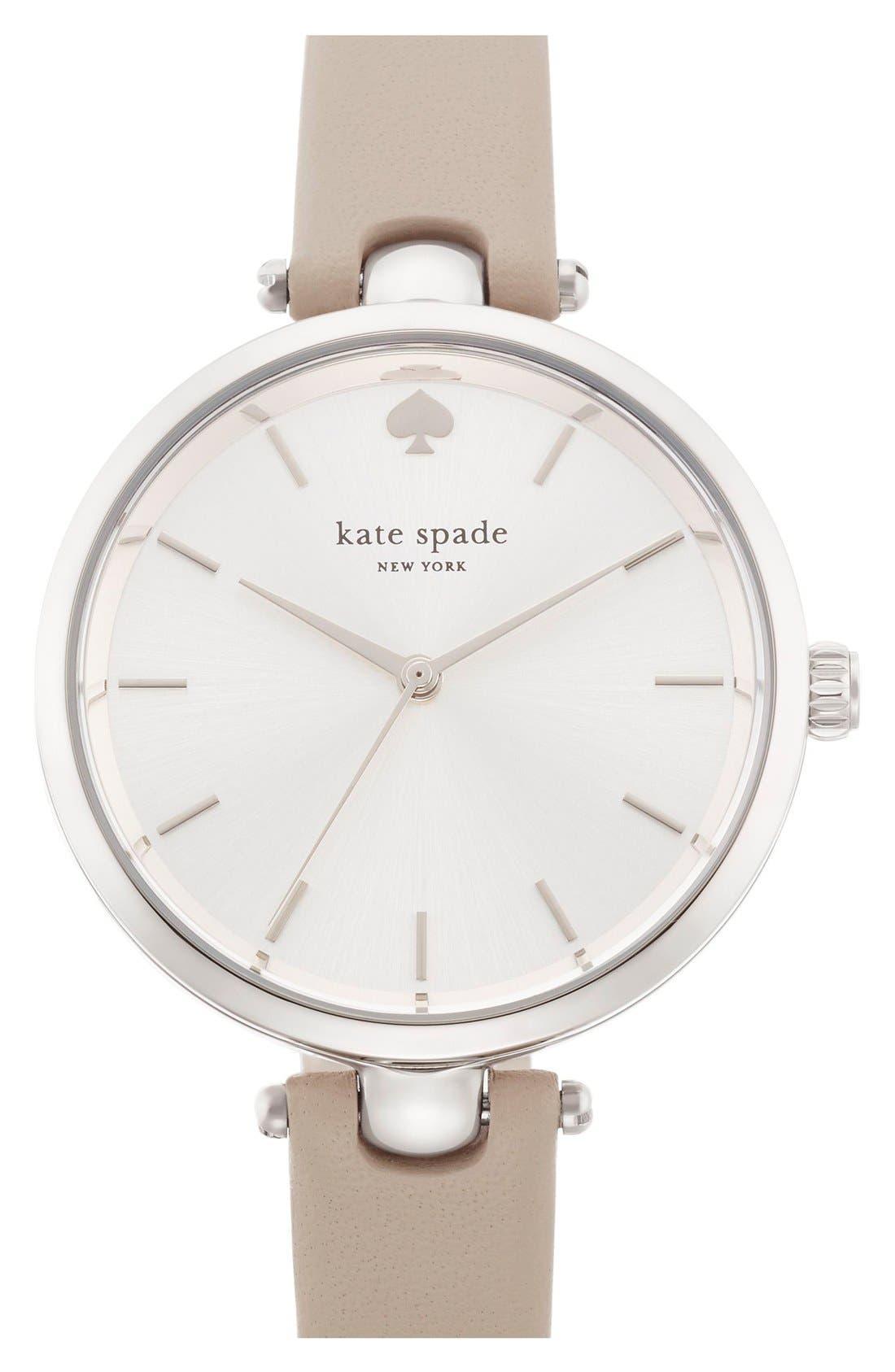 KATE SPADE NEW YORK, 'holland' round watch, 34mm, Main thumbnail 1, color, CLOCKTOWER GREY/ SILVER