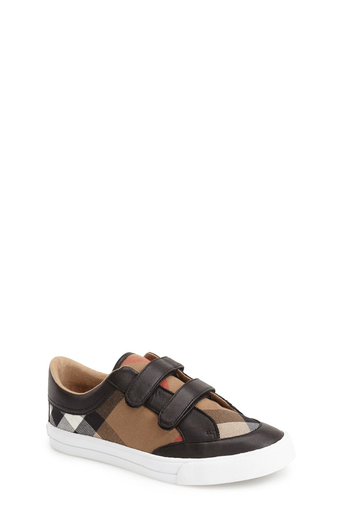 BURBERRY, Mini Heacham Sneaker, Main thumbnail 1, color, 001