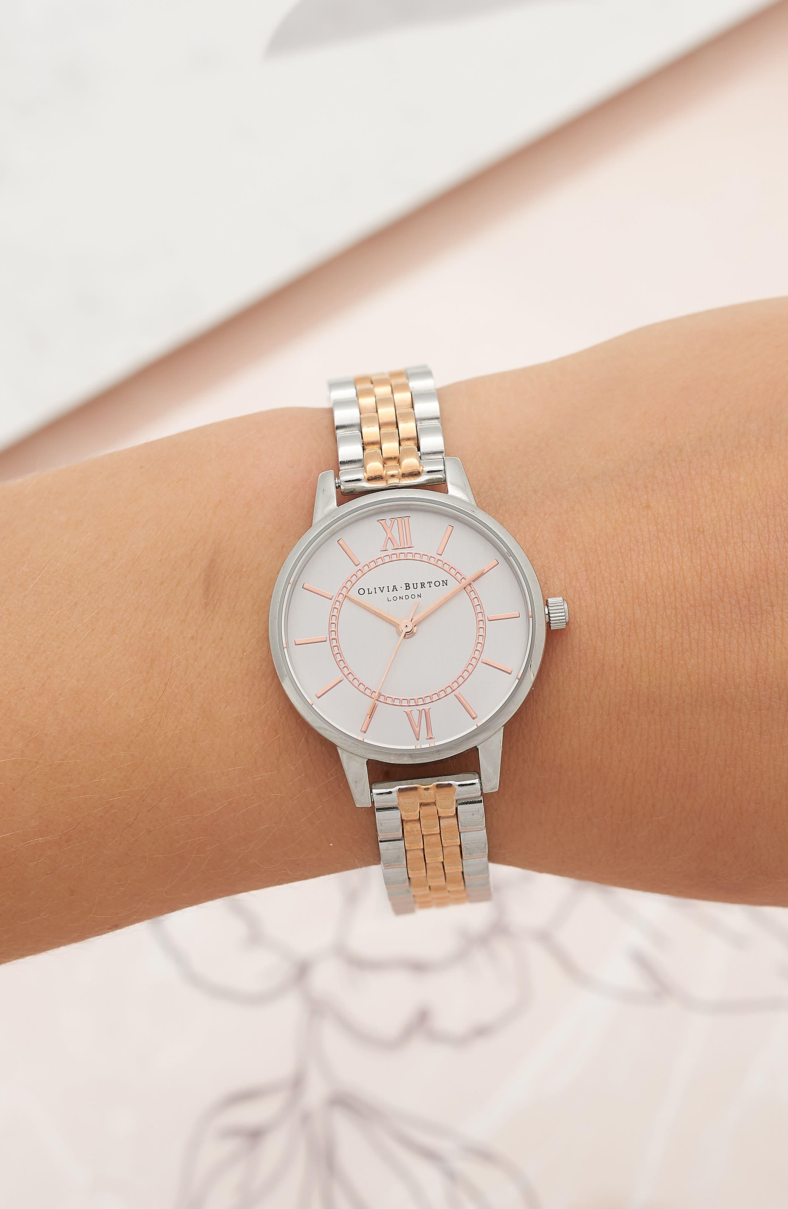 OLIVIA BURTON, Wonderland Bracelet Watch, 30mm, Alternate thumbnail 2, color, ROSE GOLD/ SILVER