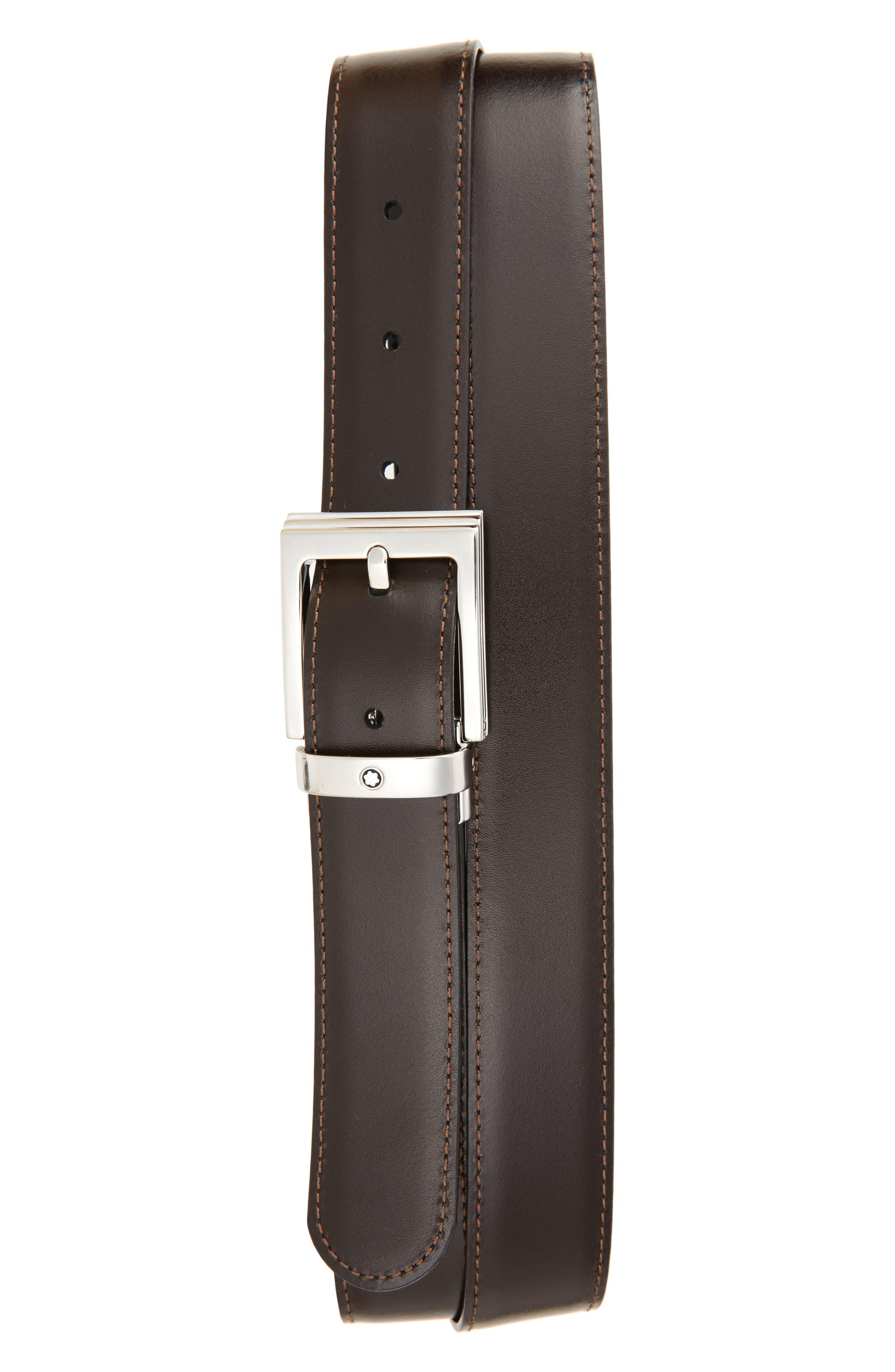MONTBLANC, Reversible Leather Belt, Alternate thumbnail 2, color, BLACK/ BROWN