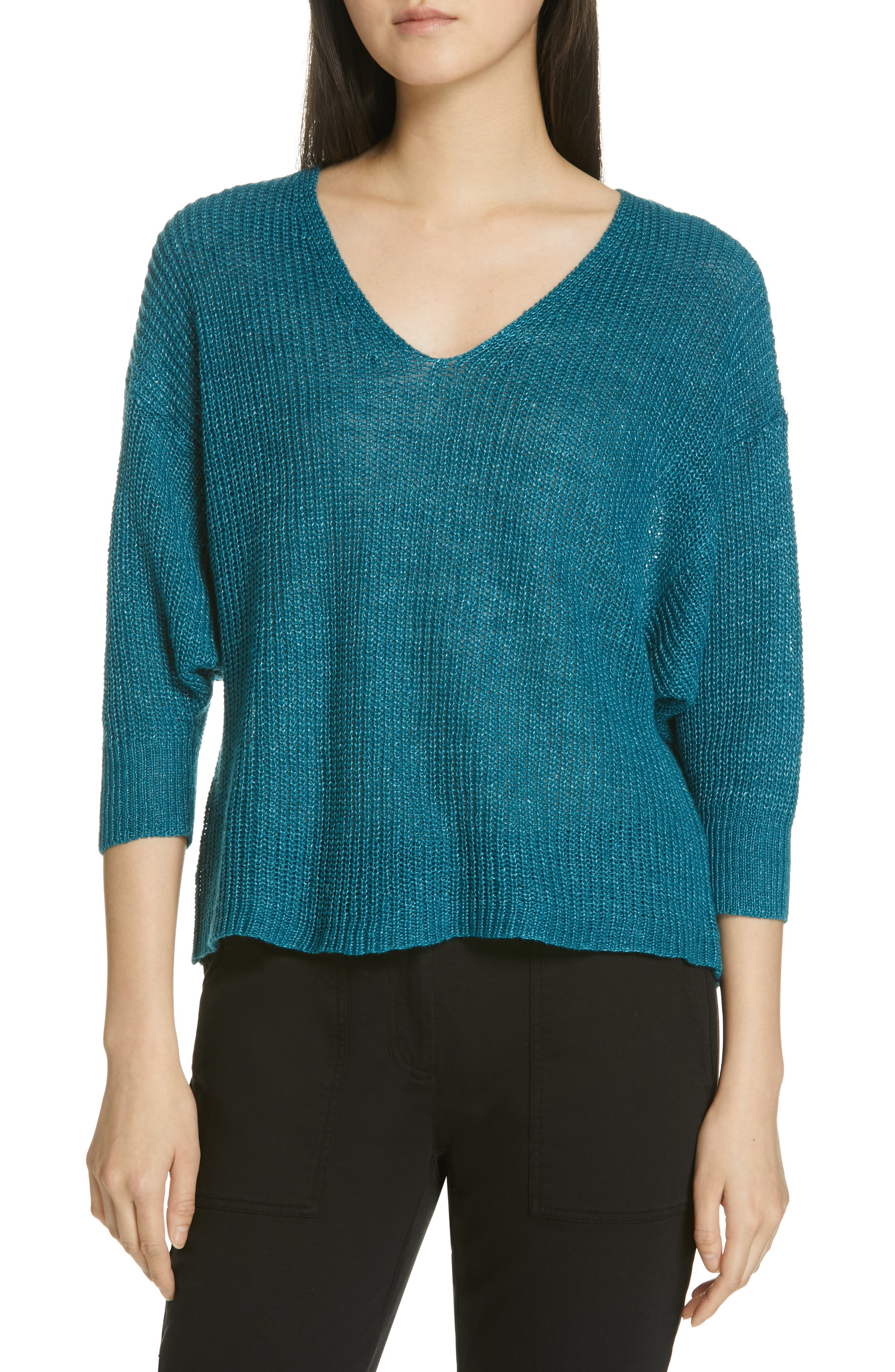 EILEEN FISHER, V-Neck Linen Sweater, Main thumbnail 1, color, TEAL
