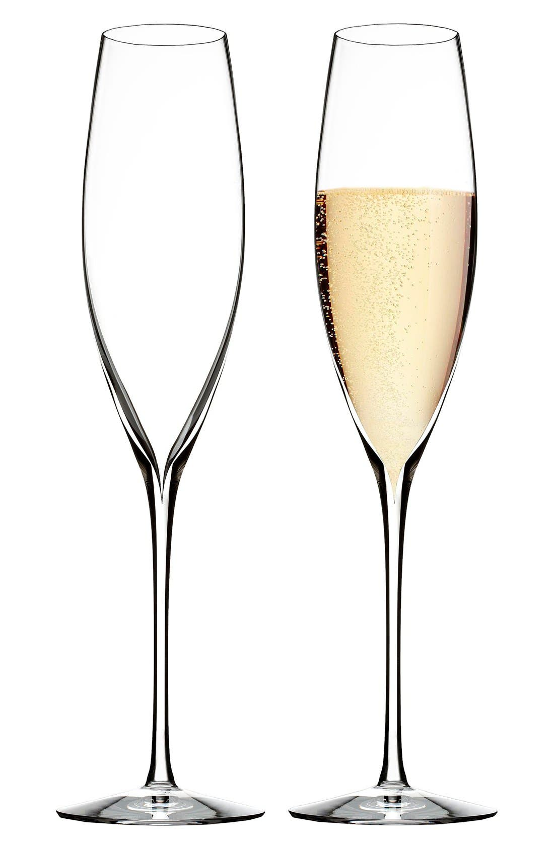 WATERFORD, 'Elegance' Fine Crystal Champagne Flutes, Alternate thumbnail 2, color, CLEAR